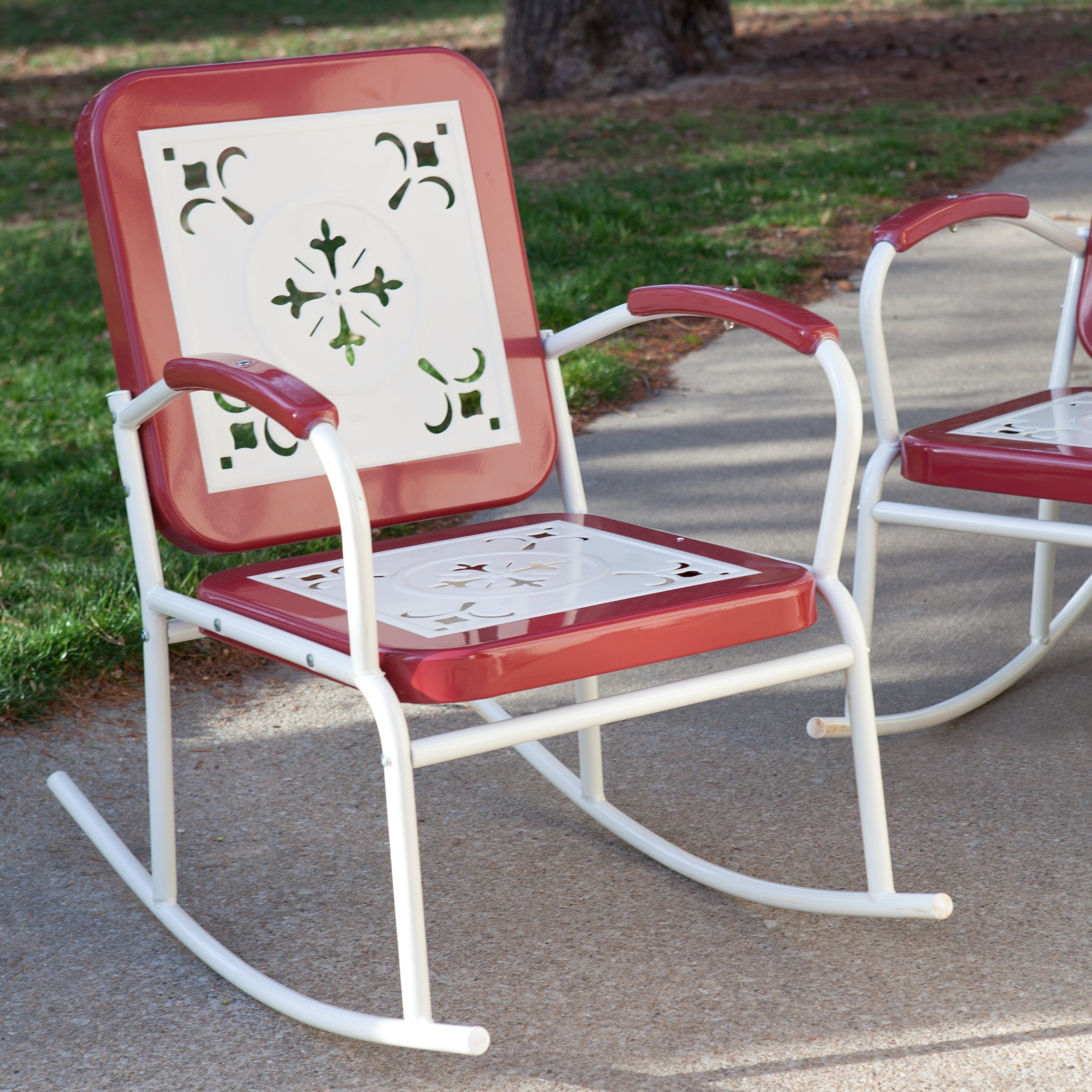 Patio Rocking Chairs Sets For Current Coral Coast Paradise Cove Retro Metal Rocking Chairs – Set Of  (View 15 of 20)