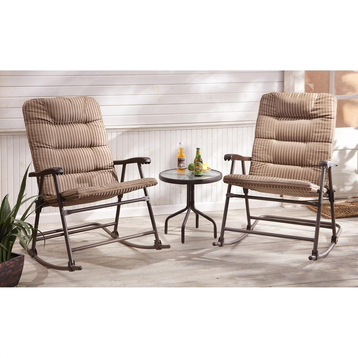 Patio Rocking Chairs Sets Regarding 2018 Castlecreek Padded Outdoor Rocking Chair Set Piece Setup Patio (View 16 of 20)