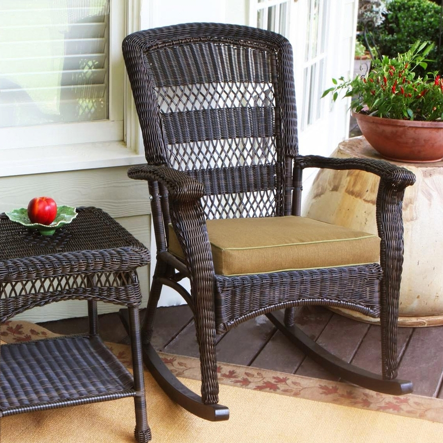 Patio Rocking Chairs With Cushions Throughout Trendy Shop Tortuga Outdoor Portside Wicker Rocking Chair With Khaki (View 12 of 20)