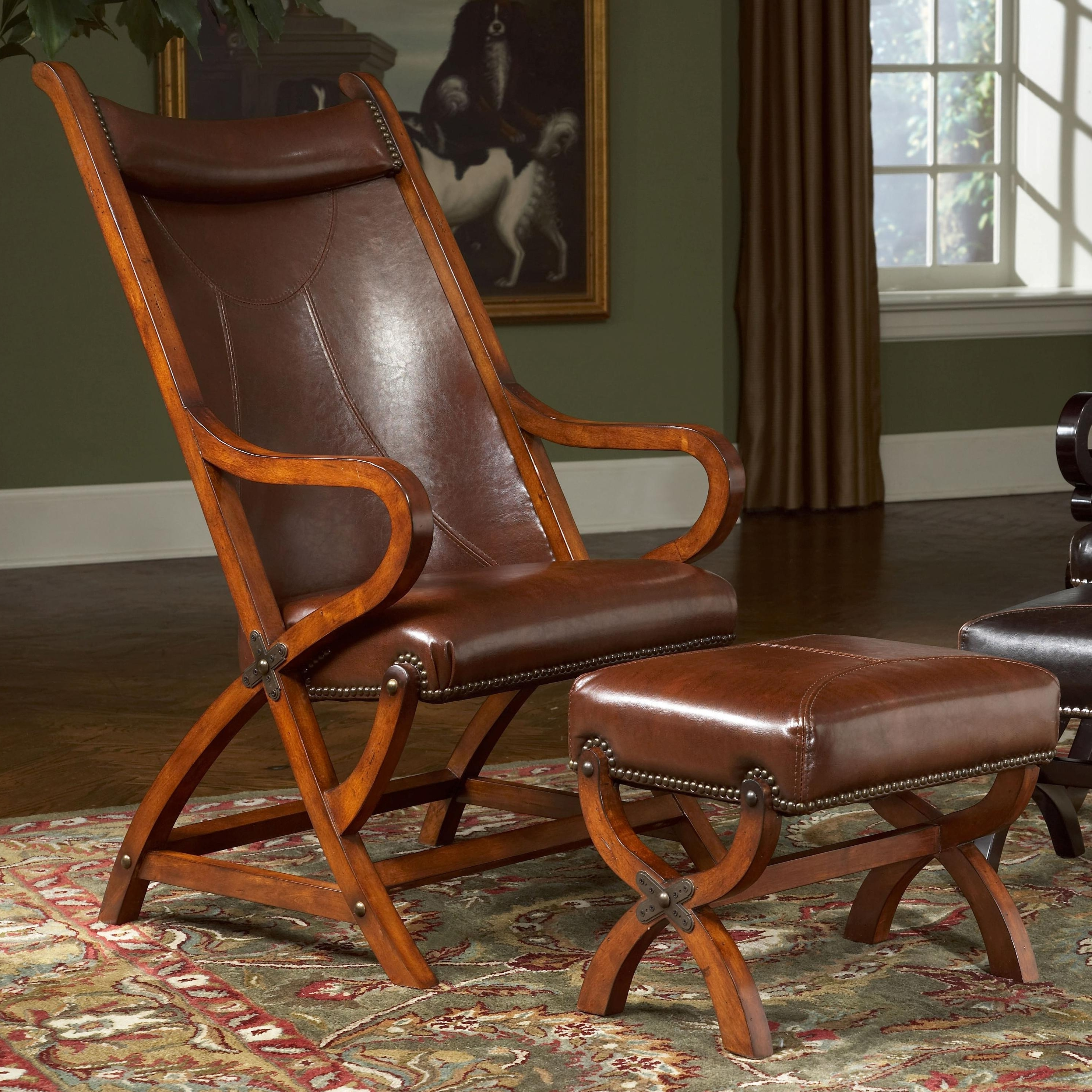 Patio Rocking Chairs With Ottoman Regarding Trendy Largo Hunter Hunter Leather Chair And Ottoman (View 8 of 20)