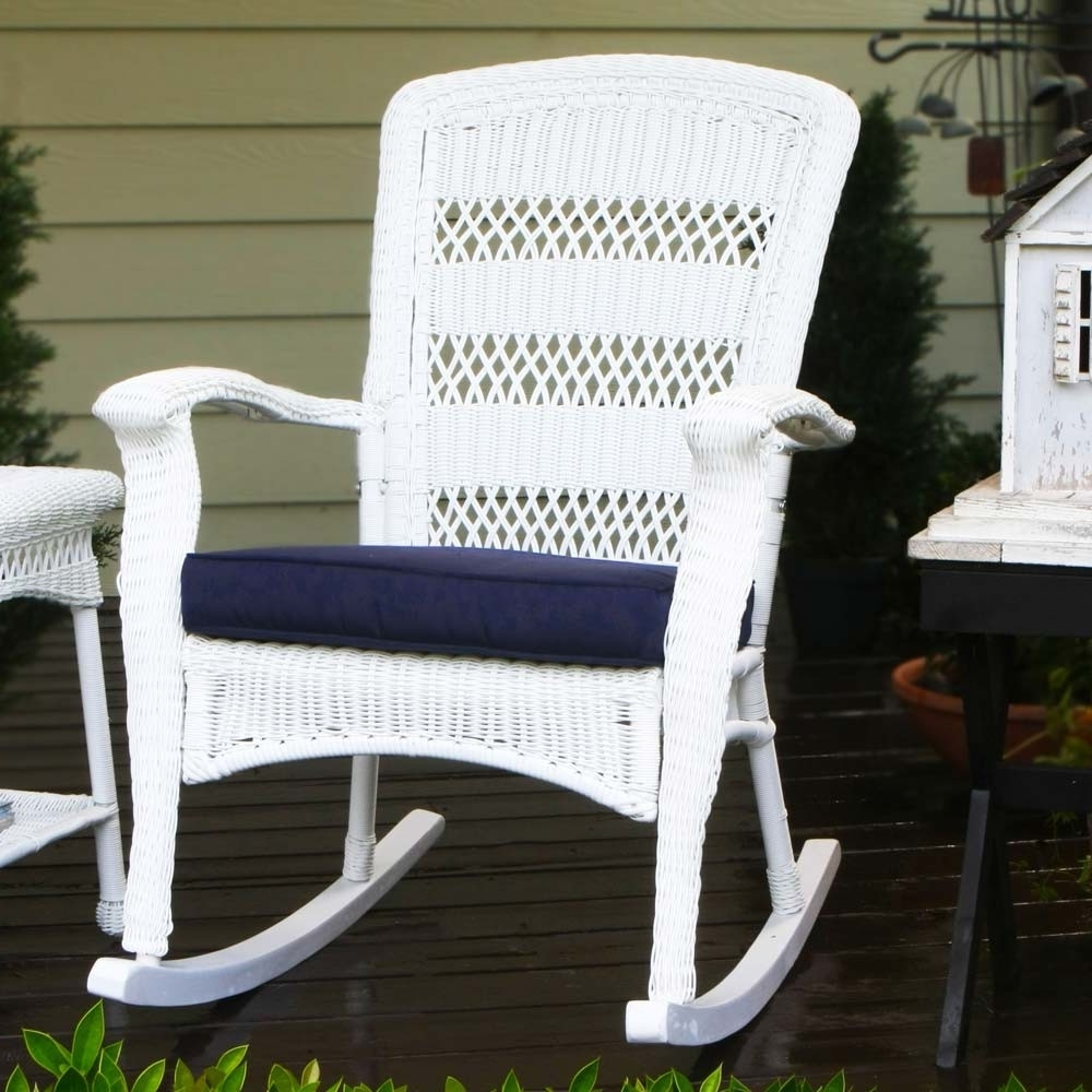Patio Rocking Chairs With Ottoman Regarding Well Known Outdoor Wicker Rocking Chairs – Wicker (View 14 of 20)