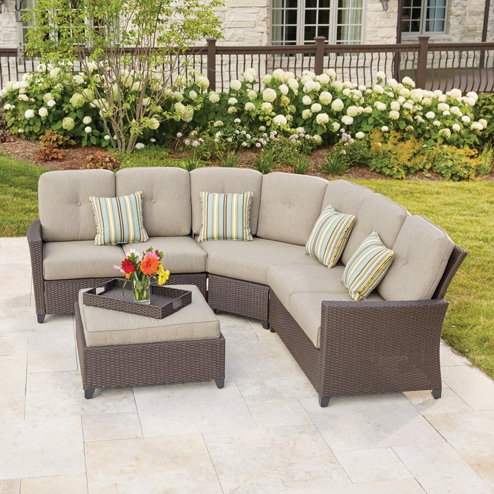 Patio Sectional Conversation Sets Intended For Most Recent Hampton Bay Tacana 4 Piece Wicker Patio Sectional Set With Beige (View 13 of 20)