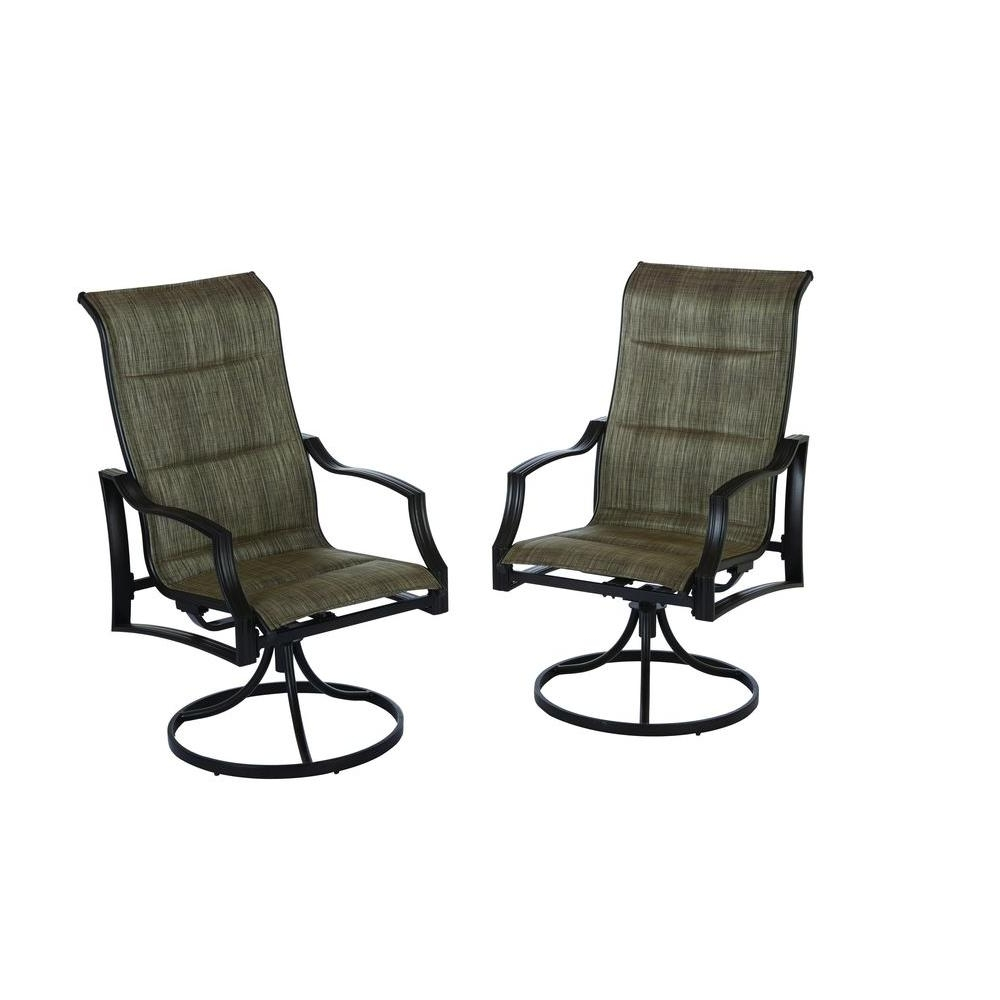 Patio Sling Rocking Chairs Regarding Best And Newest Hampton Bay Statesville Padded Sling Patio Lounge Swivel Chairs ( (View 3 of 20)