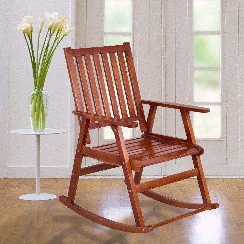 Patio Wooden Rocking Chairs For Best And Newest Giantex Wood Rocking Chair Garden Single Porch Rocker Indoor Outdoor (View 13 of 20)
