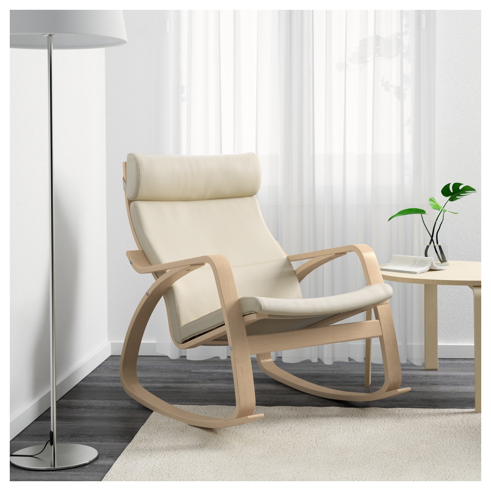 Poäng Rocking Chair Birch Veneer/glose Eggshell – Ikea Intended For Famous Rocking Chairs (View 11 of 20)