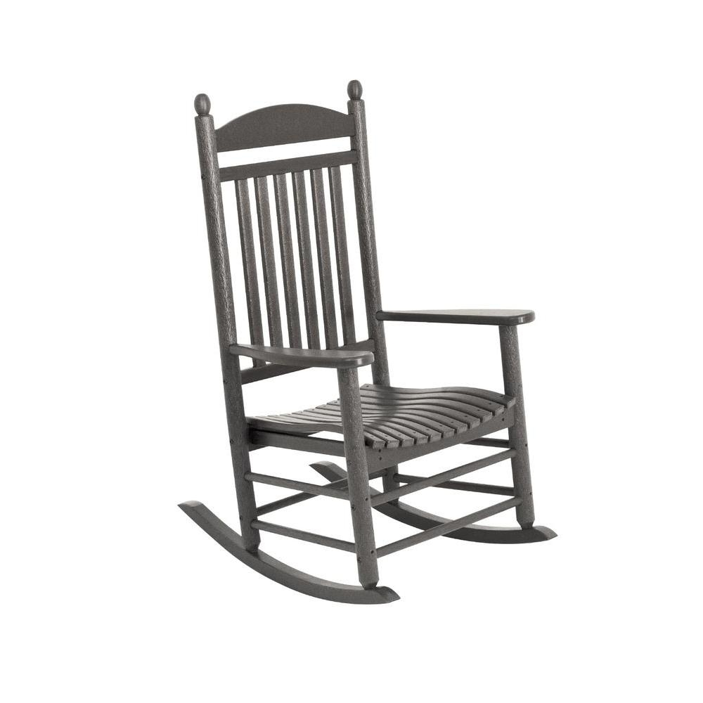 Polywood Jefferson Slate Grey Patio Rocker J147Gy – The Home Depot Within Widely Used White Resin Patio Rocking Chairs (View 8 of 20)