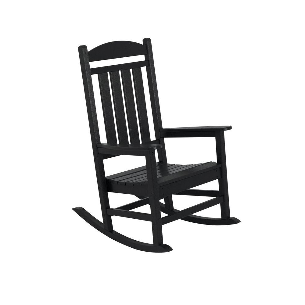 Polywood Presidential Black Patio Rocker R100bl – The Home Depot With Regard To 2018 Black Rocking Chairs (View 12 of 20)