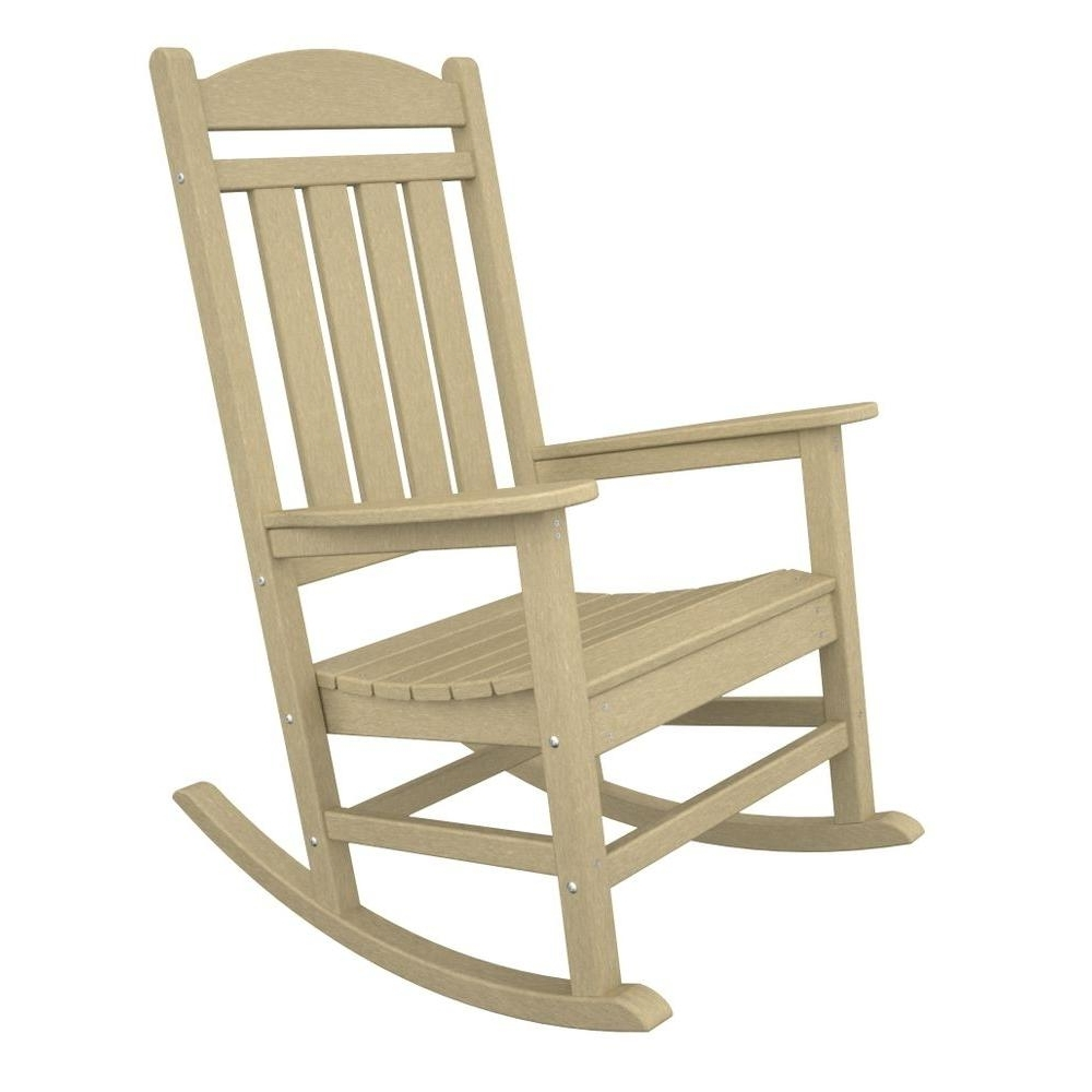 Polywood Presidential Sand Plastic Patio Rocker R100sa – The Home Depot Regarding Most Current Plastic Patio Rocking Chairs (View 11 of 20)