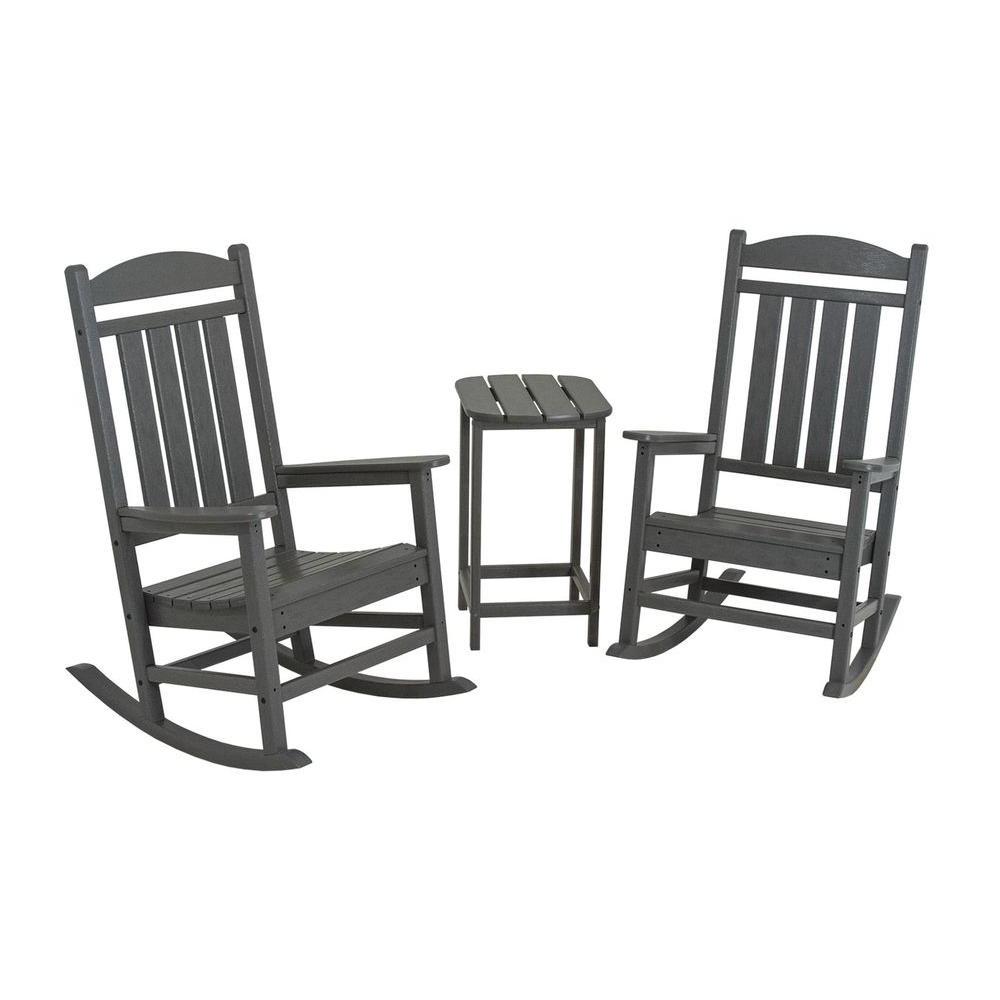 Polywood Presidential Slate Grey 3 Piece Patio Rocker Set Pws139 1 Regarding Most Popular Patio Rocking Chairs Sets (View 18 of 20)