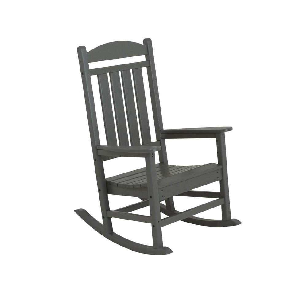 Polywood Presidential Slate Grey Plastic Patio Rocker R100Gy – The With Most Recently Released Manhattan Patio Grey Rocking Chairs (View 10 of 20)