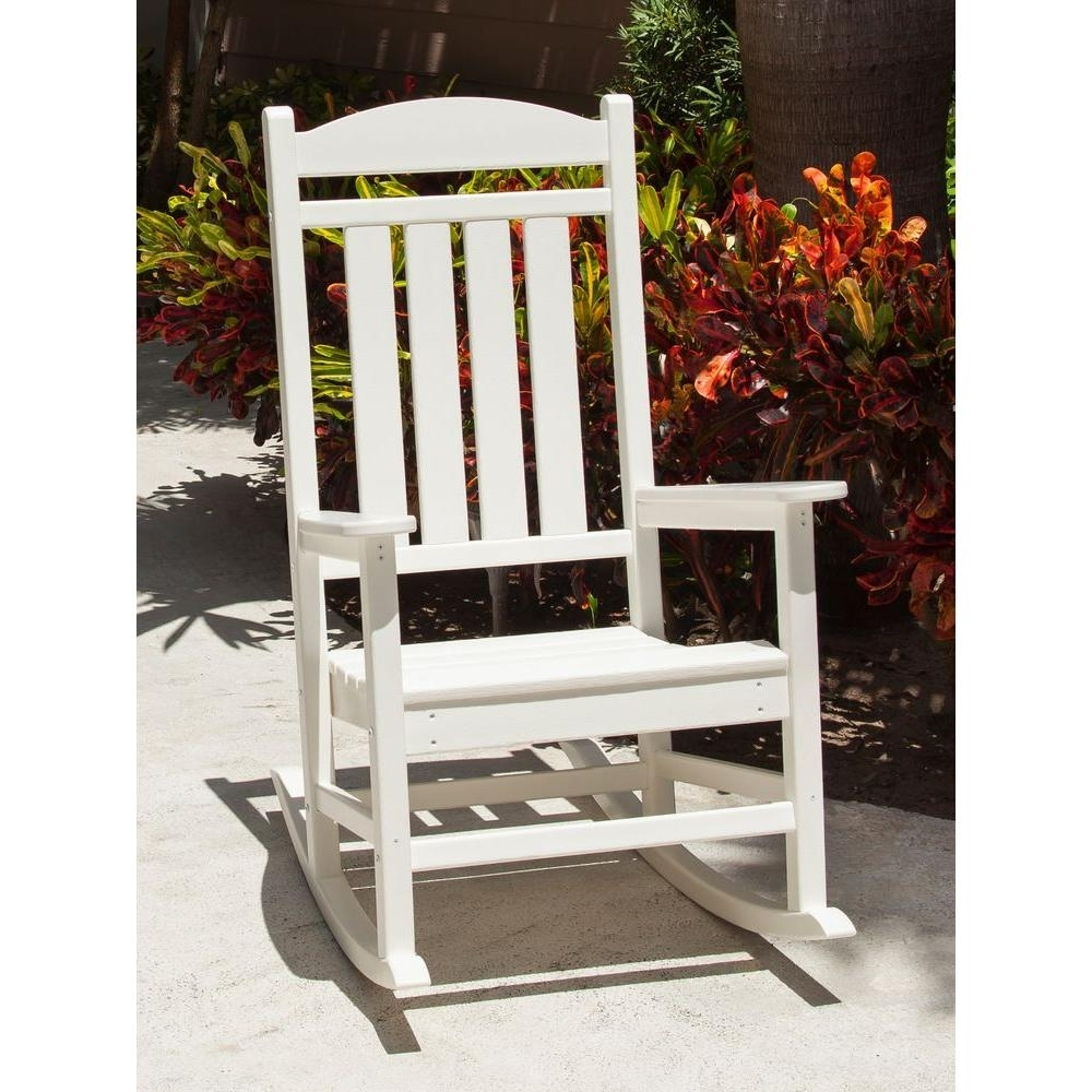 Polywood Presidential White Patio Rocker R100wh – The Home Depot With Current Rocking Chairs At Home Depot (View 6 of 20)