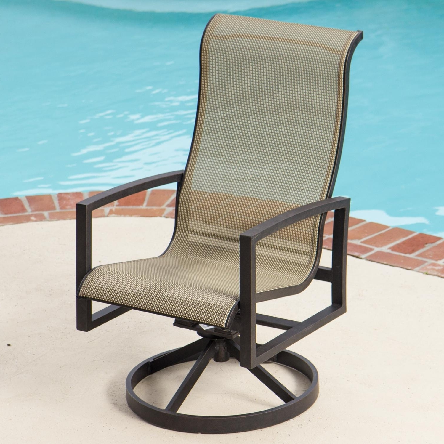 Popular Acadia Sling Patio Swivel Rocker Dining Chairlakeview Outdoor Pertaining To Modern Patio Rocking Chairs (View 17 of 20)