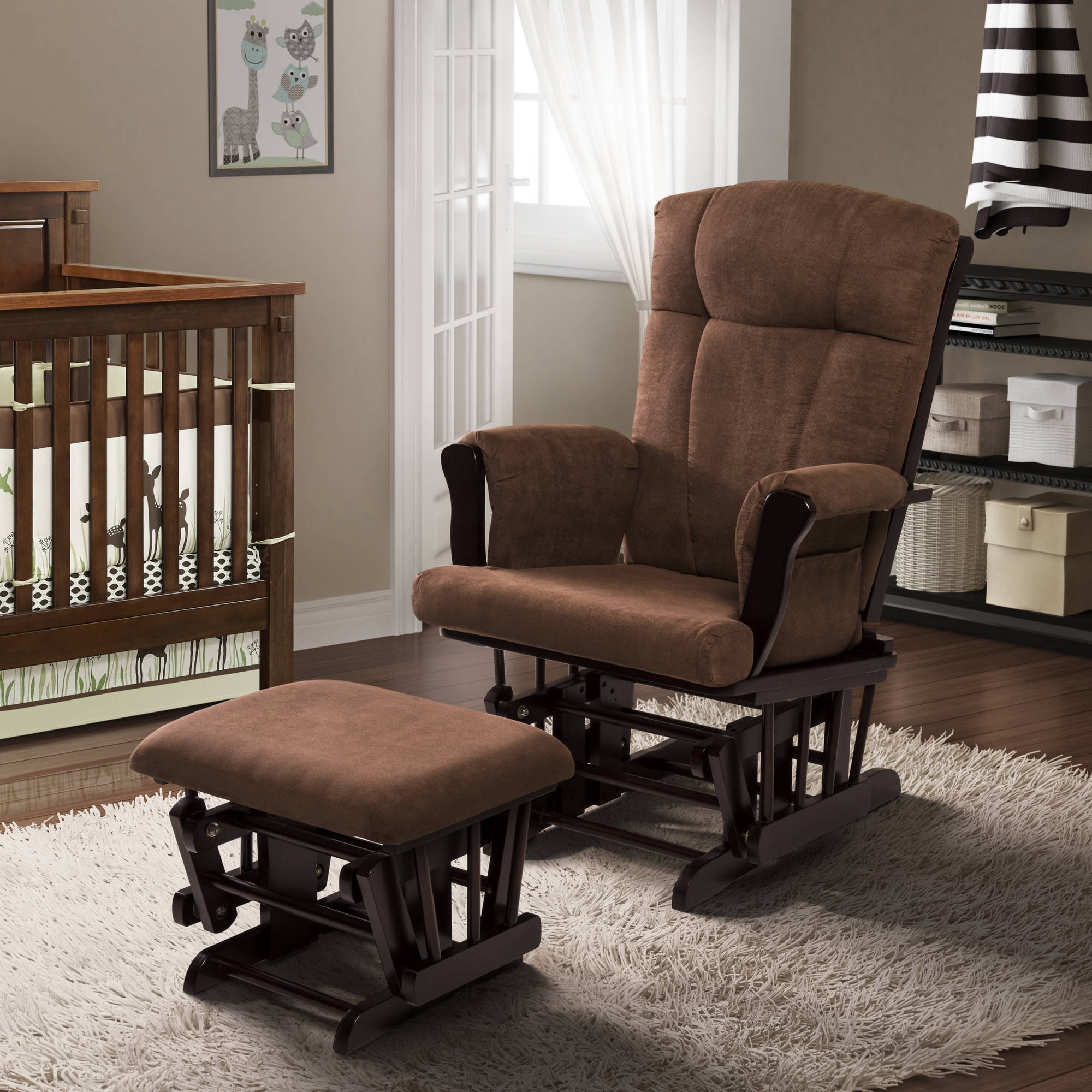Popular Baby Relax Glider Rocker And Ottoman Espresso With Chocolate In Rocking Chairs At Walmart (View 11 of 20)