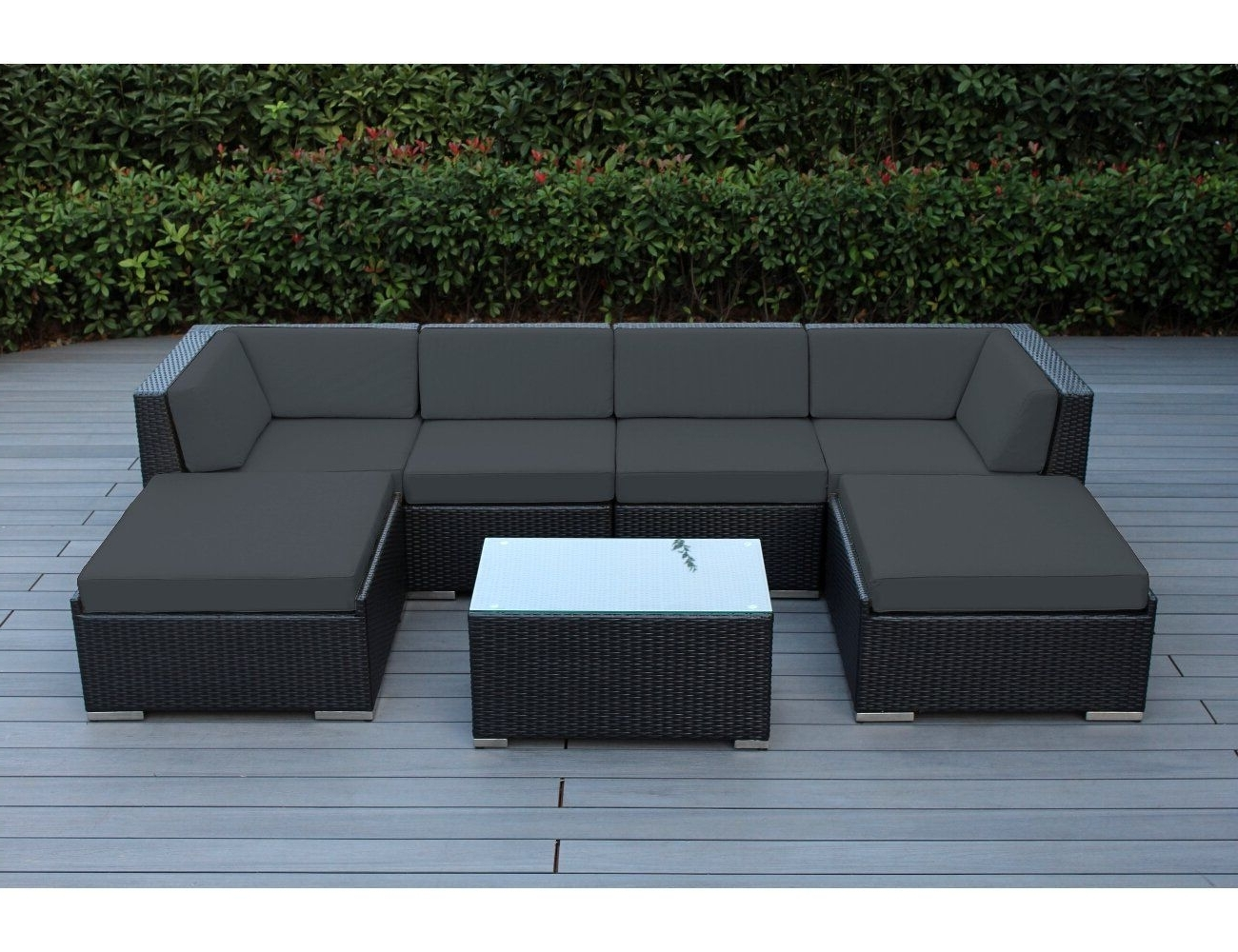 Popular Black Patio Conversation Sets With Regard To Ohana 7 Piece Outdoor Patio Furniture Sectional Conversation Set (View 20 of 20)