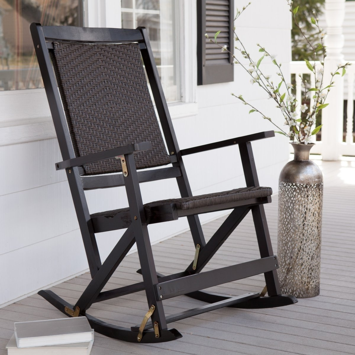 Popular Brown Patio Rocking Chairs Inside Furniture: Wonderful Brown Solid Wood Outdoor Folding Rocking Chair (View 16 of 20)