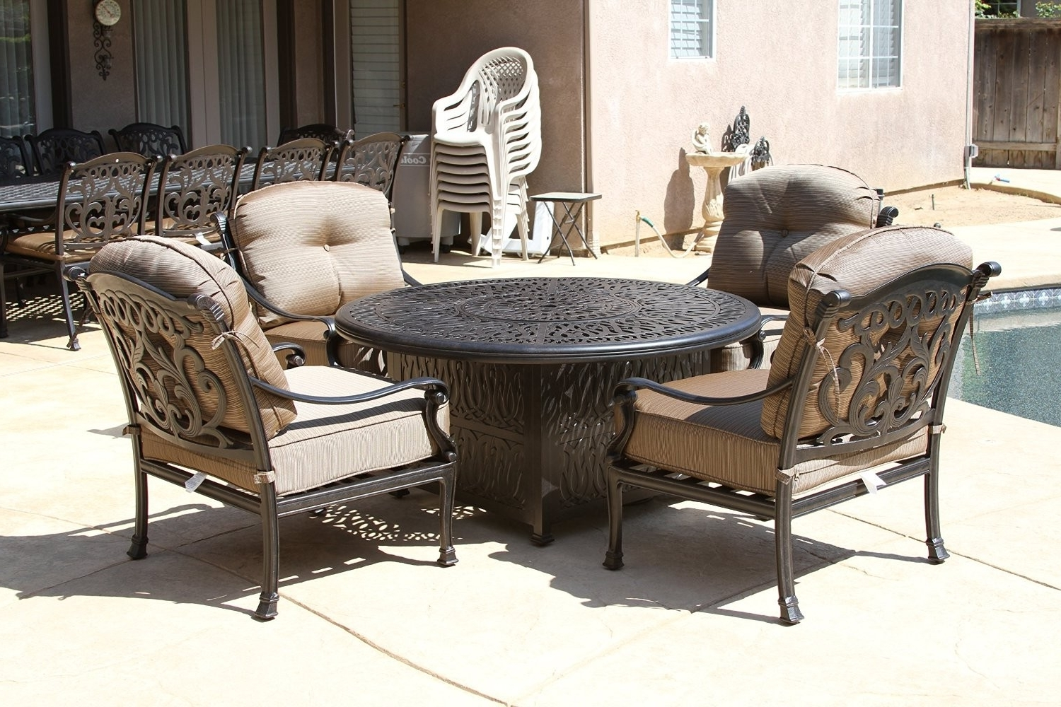 "Popular Flamingo 5Pc Deep Seating Set – 4 Club Chairs And 52"" Round Fire Pit In Deep Seating Patio Conversation Sets (View 18 of 20)"