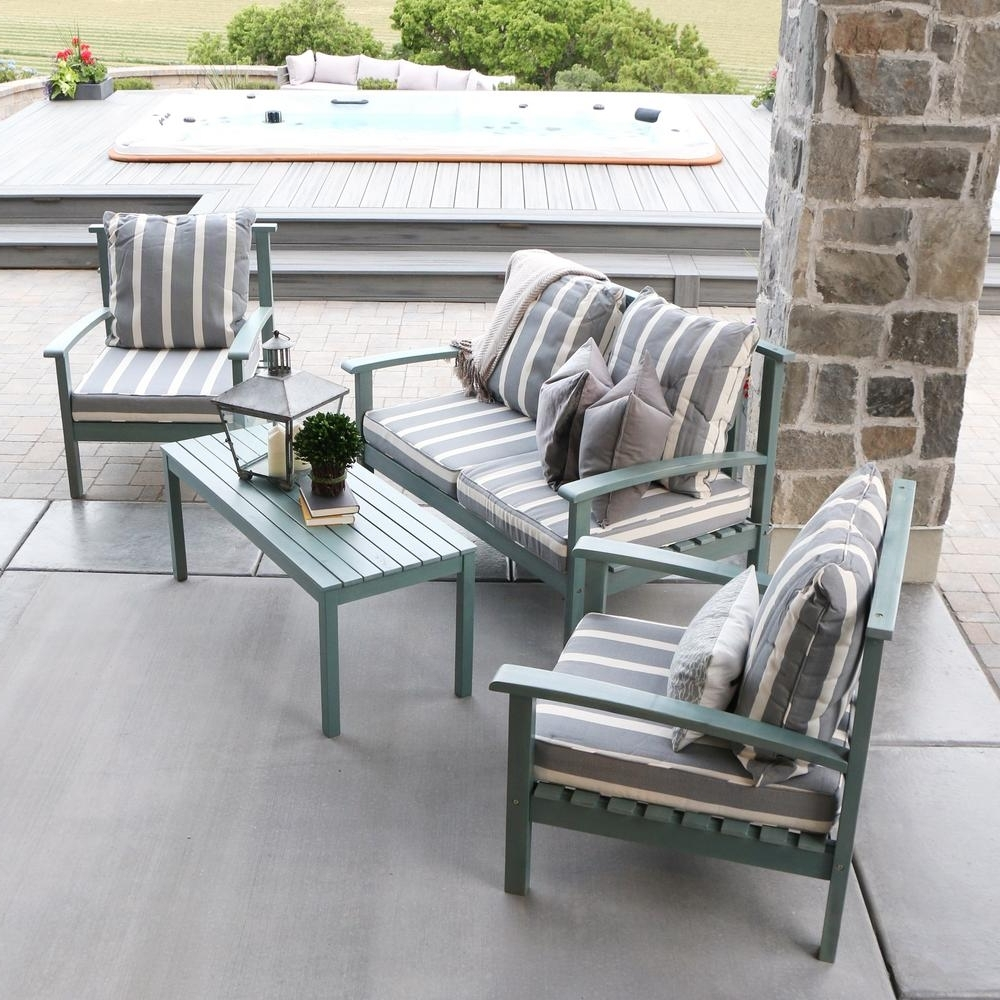 Popular Grey Patio Conversation Sets Intended For Walker Edison Furniture Company Ocean Grey Acacia Wood 4 Piece Patio (View 9 of 20)
