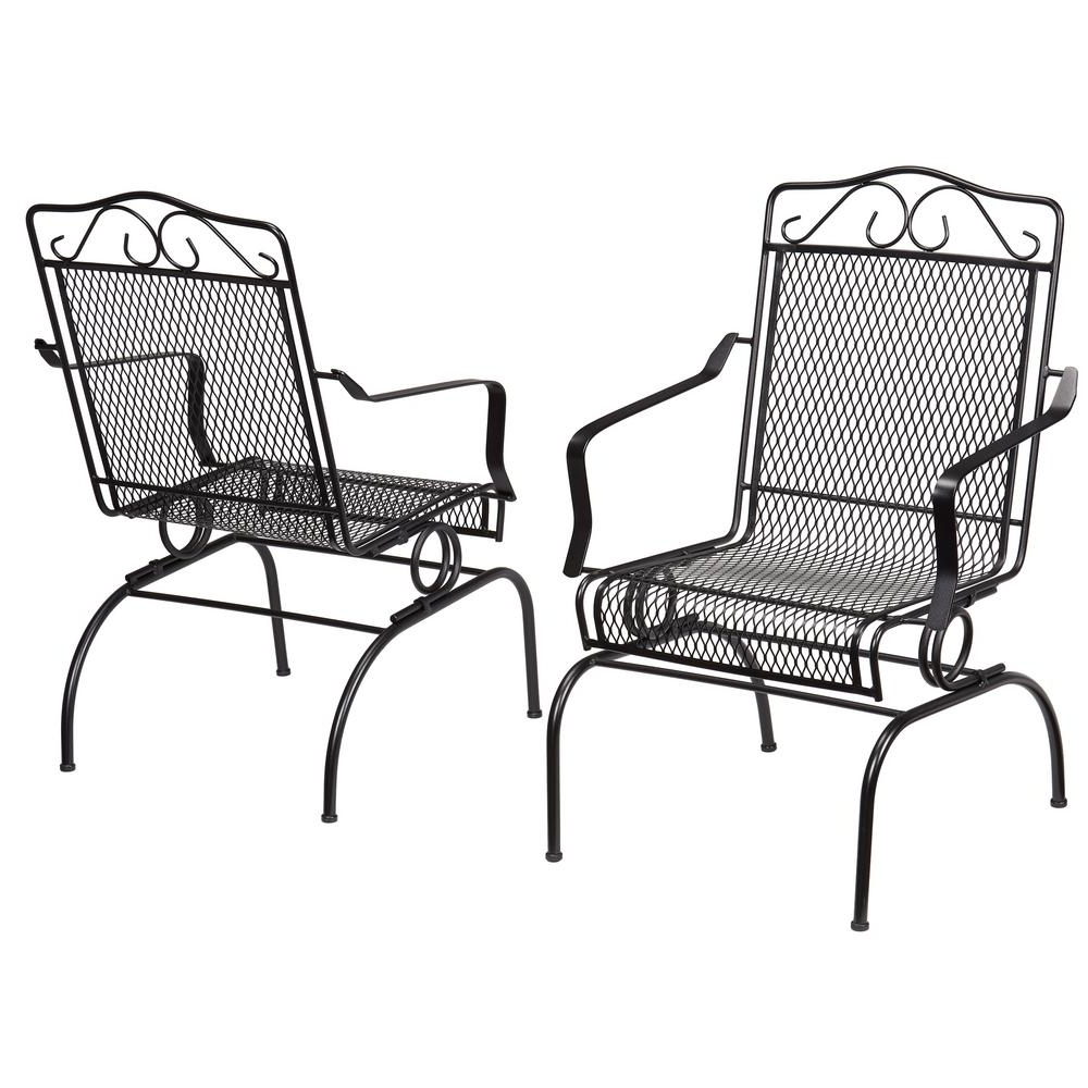 Popular Hampton Bay Nantucket Rocking Metal Outdoor Dining Chair (2 Pack Inside Wrought Iron Patio Rocking Chairs (View 13 of 20)