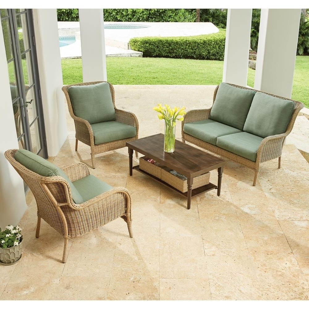 Popular Hampton Bay Patio Conversation Sets With Hampton Bay Lemon Grove 4 Piece Wicker Patio Conversation Set With (View 14 of 20)