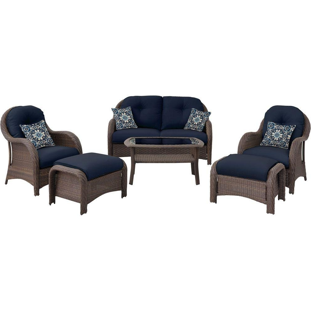 Popular Hanover Newport 6 Piece All Weather Wicker Woven Patio Seating Set Inside Wicker 4Pc Patio Conversation Sets With Navy Cushions (View 10 of 20)