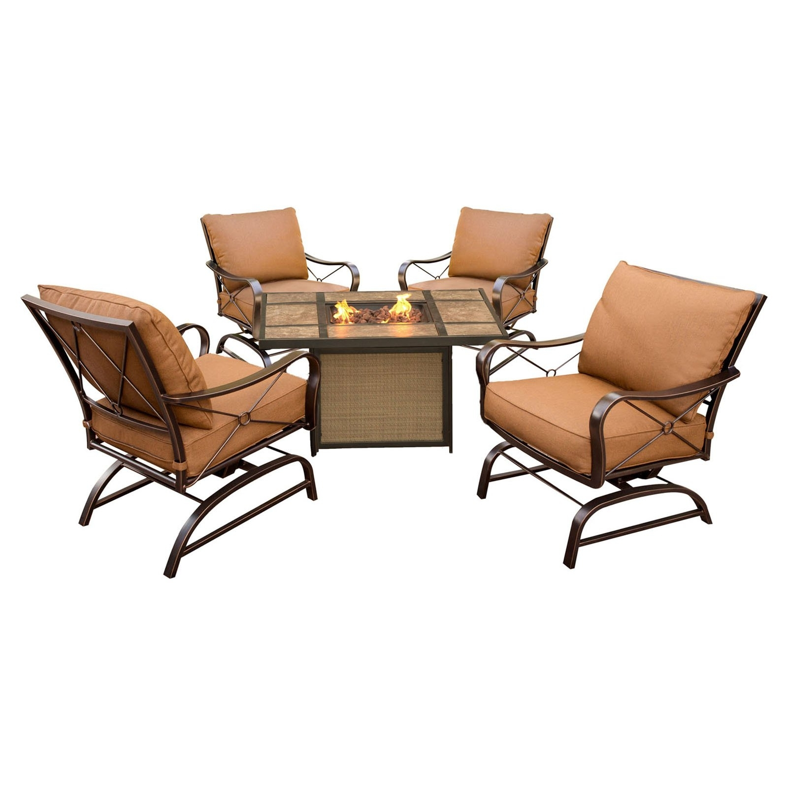 Popular Hanover Summer Nights 5 Piece Aluminum Fire Pit Conversation Set Throughout 5 Piece Patio Conversation Sets (View 19 of 20)