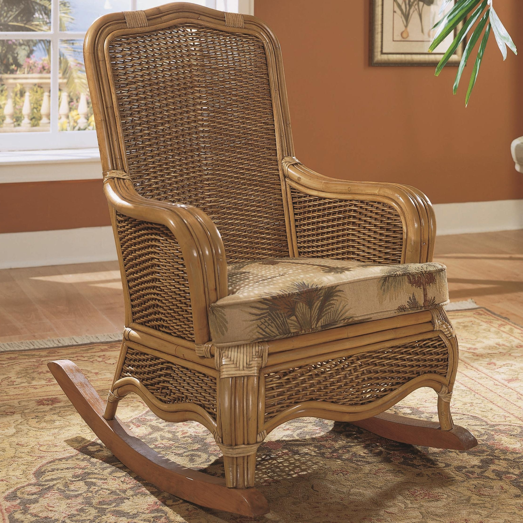 Popular Outdoor Wicker Rocking Chairs With Cushions With Brown Braxton Culler Shorewood Tropical Rattan Rocking Chair With (View 18 of 20)