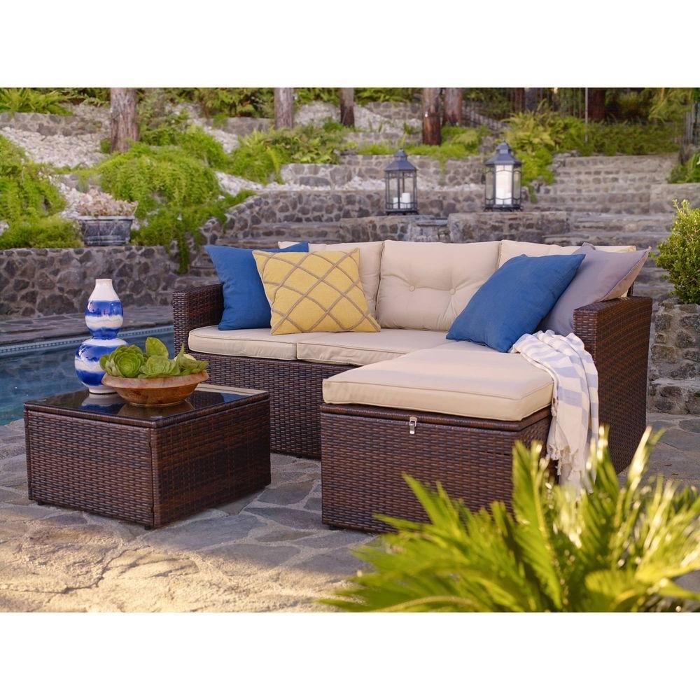 Popular Patio Conversation Set With Storage Pertaining To Wicker Conversation Patio Set 3 Piece Outdoor Furniture Storage (View 10 of 20)