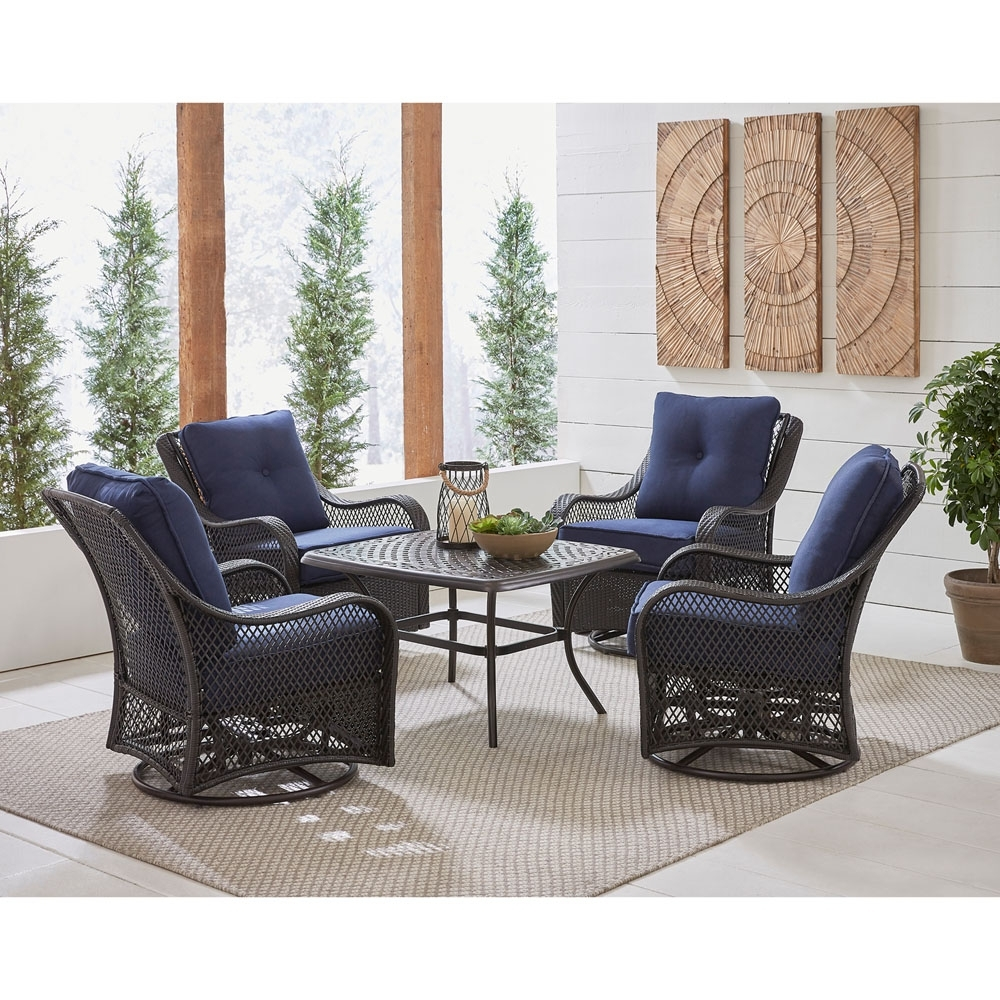 Popular Patio Conversation Sets With Rockers Within Orleans 5 Piece Patio Chat Set In Navy Blue With 4 Swivel Rockers (View 19 of 20)
