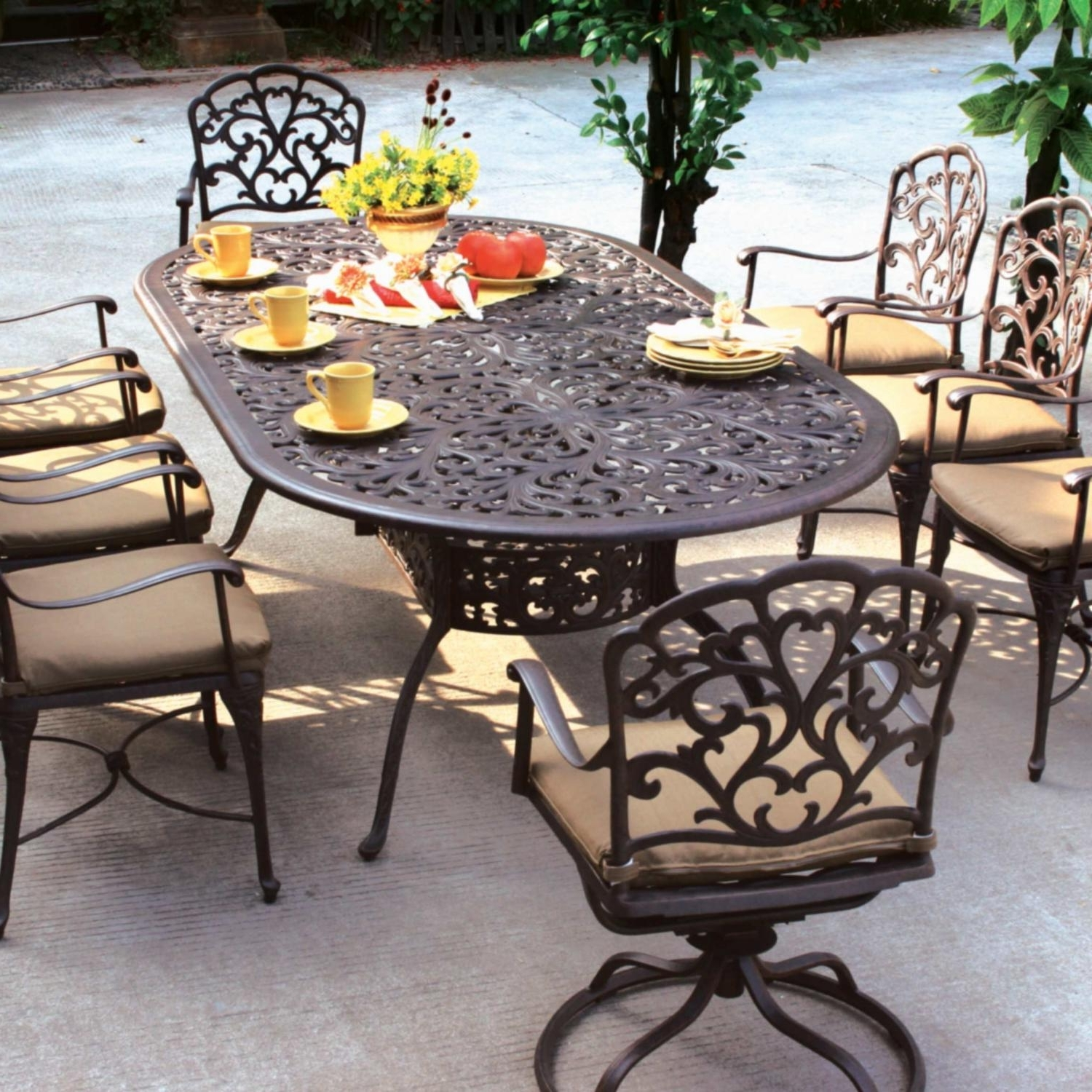 Popular Patio Dining Table And Chairs Costco Patio Furniture For Padded With Black Aluminum Patio Conversation Sets (View 13 of 20)