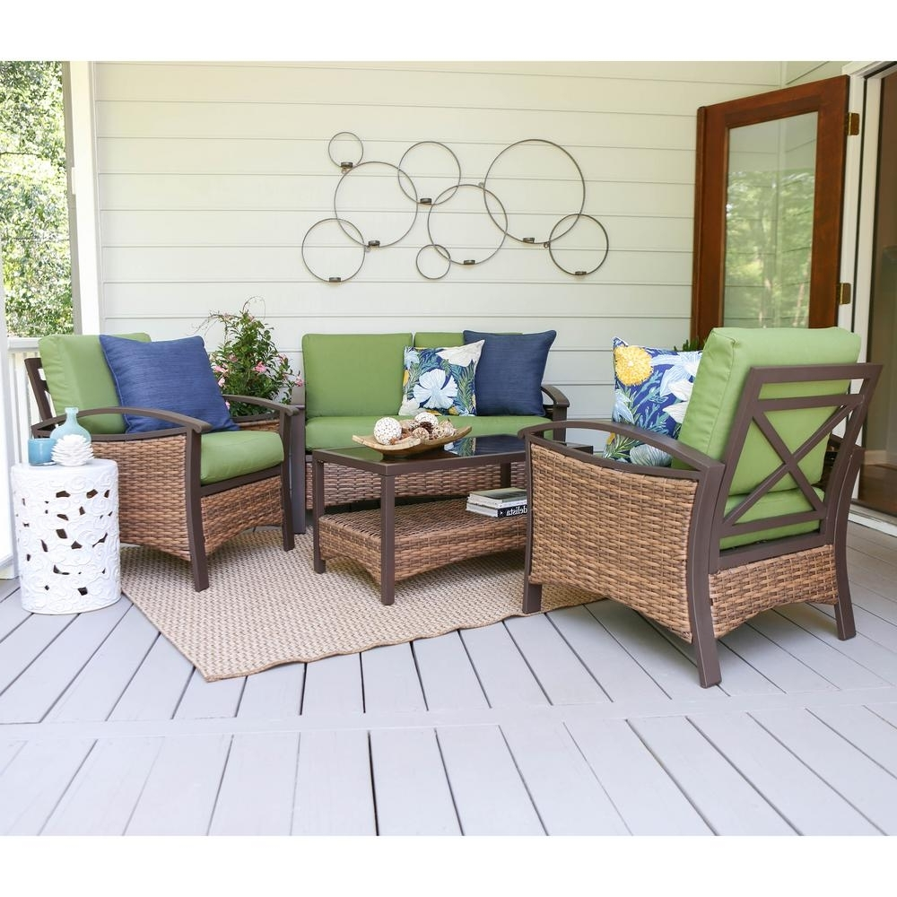 Popular Patio Furniture Conversation Sets At Home Depot Pertaining To Leisure Made Thompson 4 Piece Wicker Patio Conversation Set With (View 19 of 20)