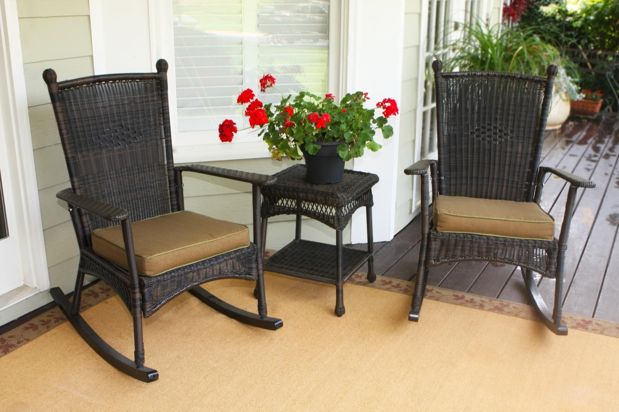 Popular Resin Patio Rocking Chairs Inside Portside Classic Wicker Rocking Chair Set – The Rocking Chair Company (View 15 of 20)