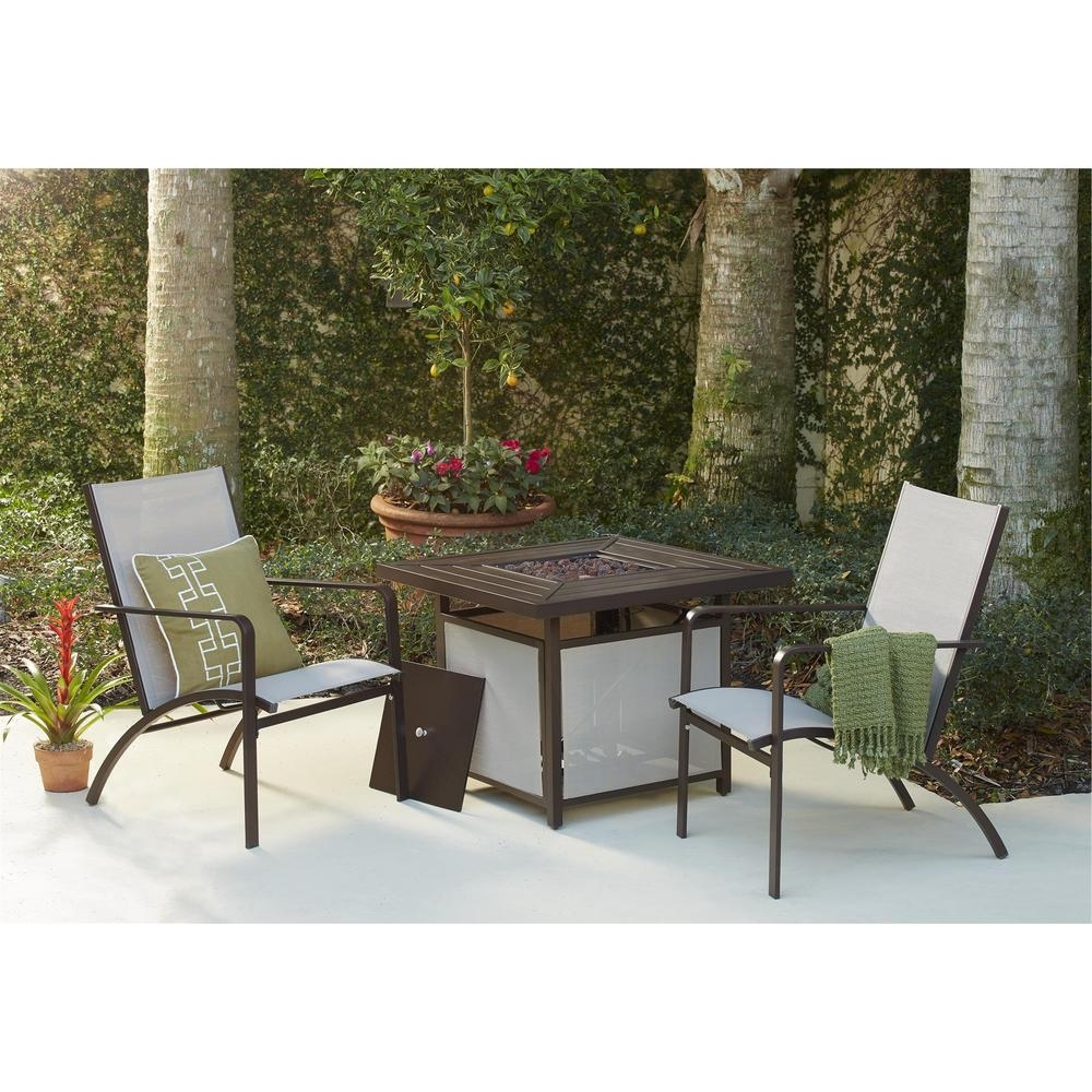 Popular Sling Patio Conversation Sets Regarding Cosco Stone Lake Aluminum Sling Patio Fire Pit Conversation Set ( (View 2 of 20)