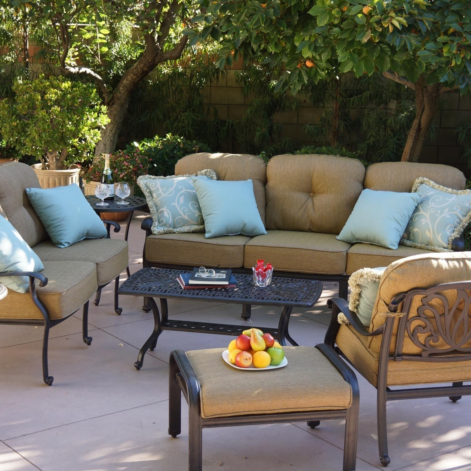 Popular Small Patio Conversation Sets Pertaining To Darlee Elisabeth 8 Piece Cast Aluminum Patio Conversation Seating Set (View 10 of 20)