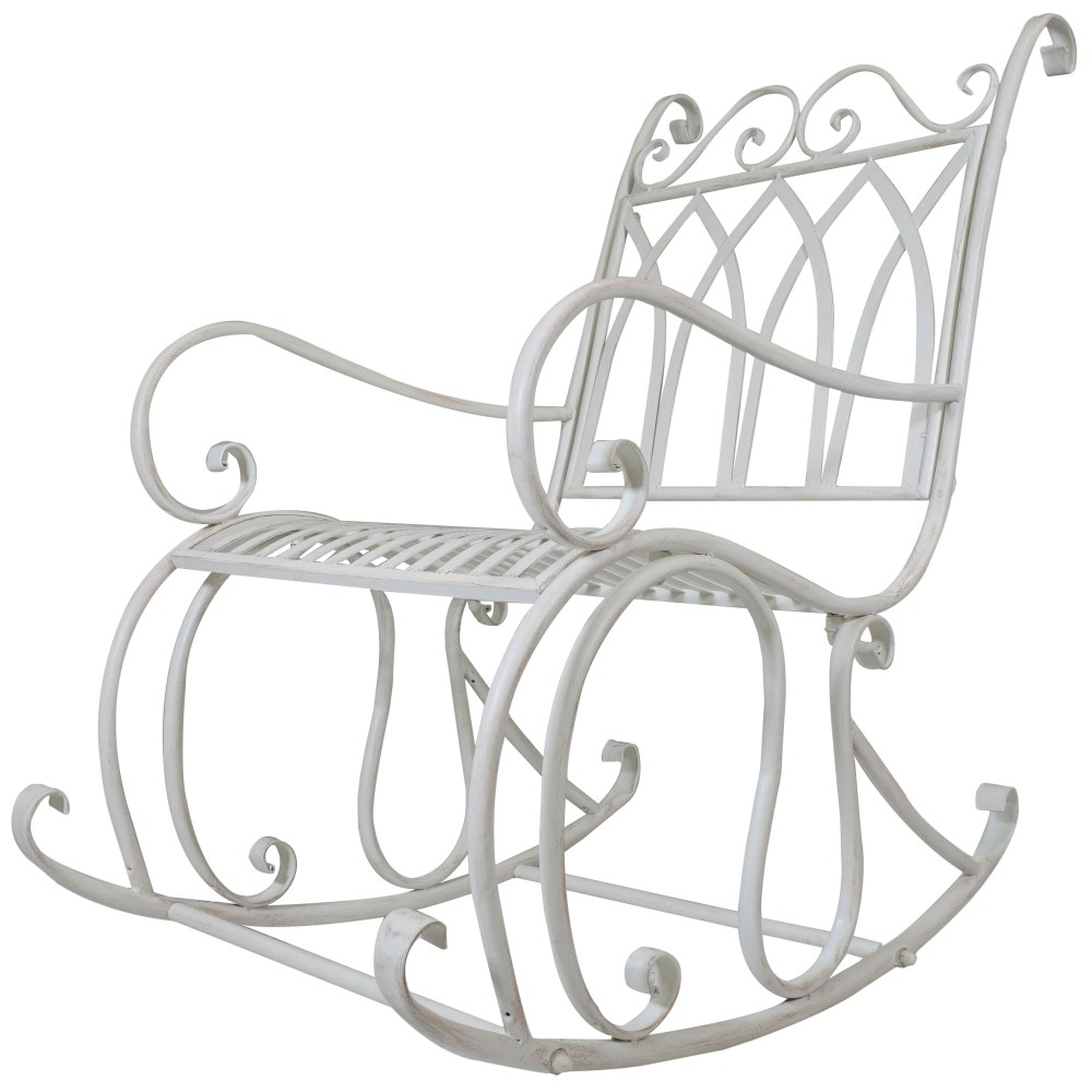 Popular Titan Outdoor Antique Rocking Chair White Porch Patio Garden Seat For Outdoor Patio Metal Rocking Chairs (View 15 of 20)