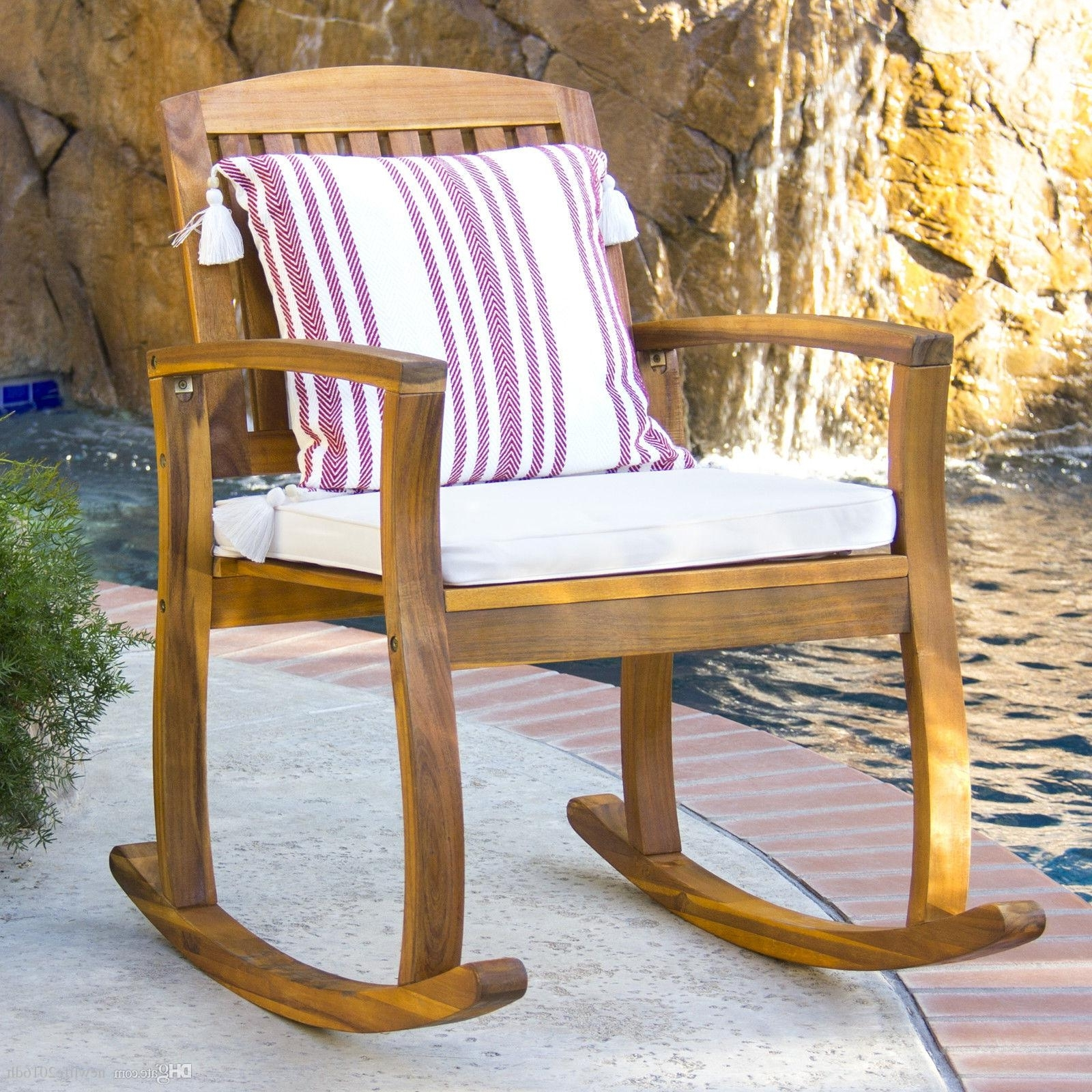 Preferred 2018 Outdoor Patio Acacia Wood Rocking Chair W/ Removable Seat In Patio Wooden Rocking Chairs (View 15 of 20)