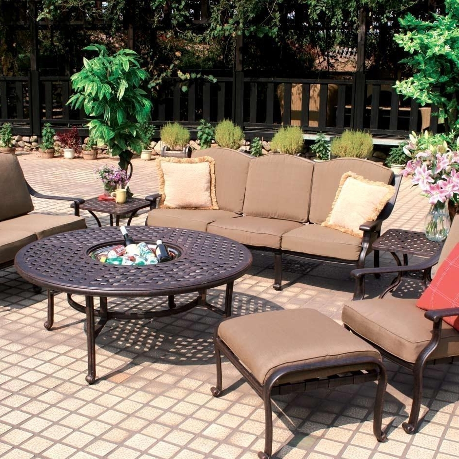 Preferred Cast Aluminum Patio Conversation Sets With Darlee Ten Star 7 Piece Aluminum Patio Conversation Seating Set (View 18 of 20)