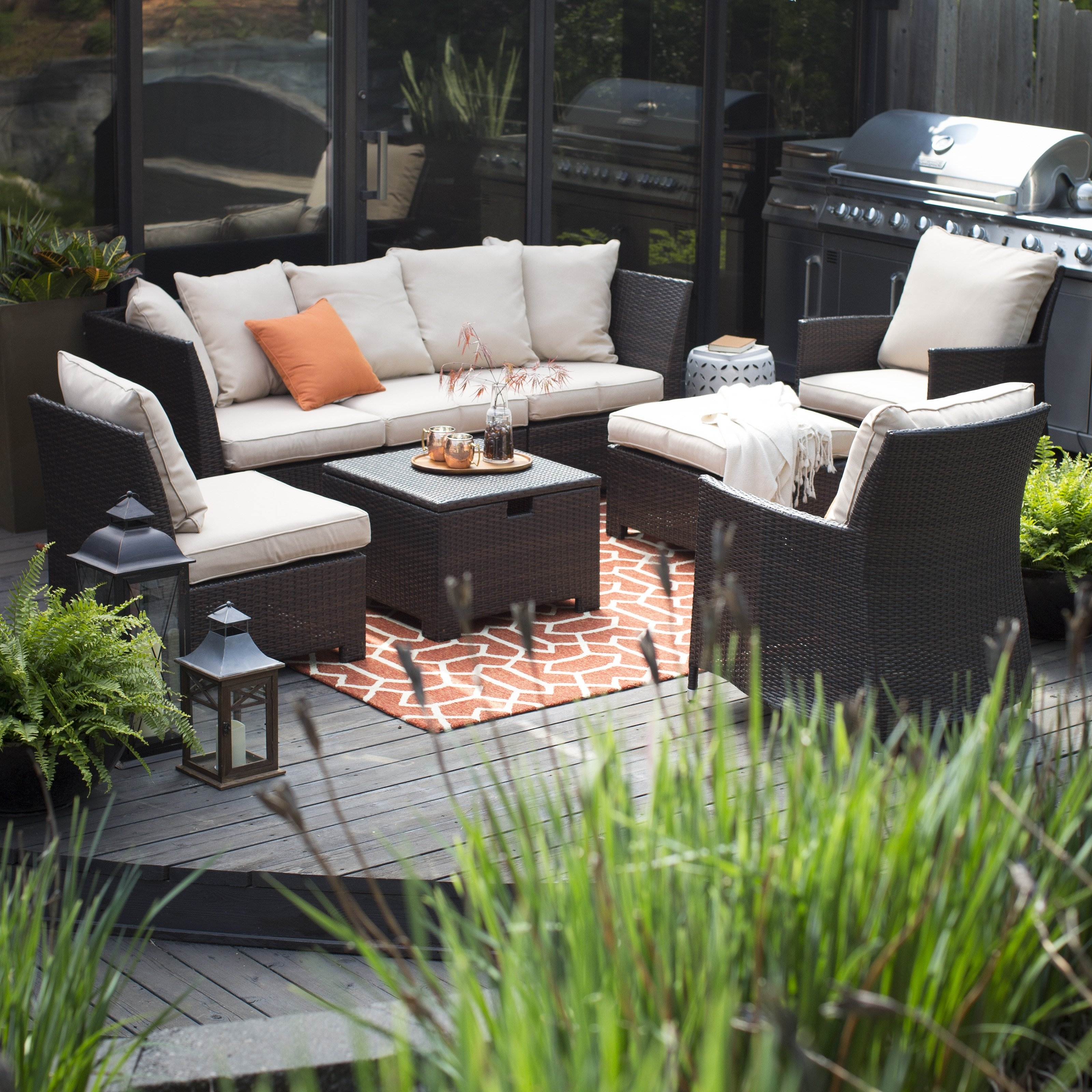 Preferred Furniture: Appealing Dark Wicker Sofa With White Cushions And Wicker With Patio Conversation Sets With Ottoman (View 17 of 20)