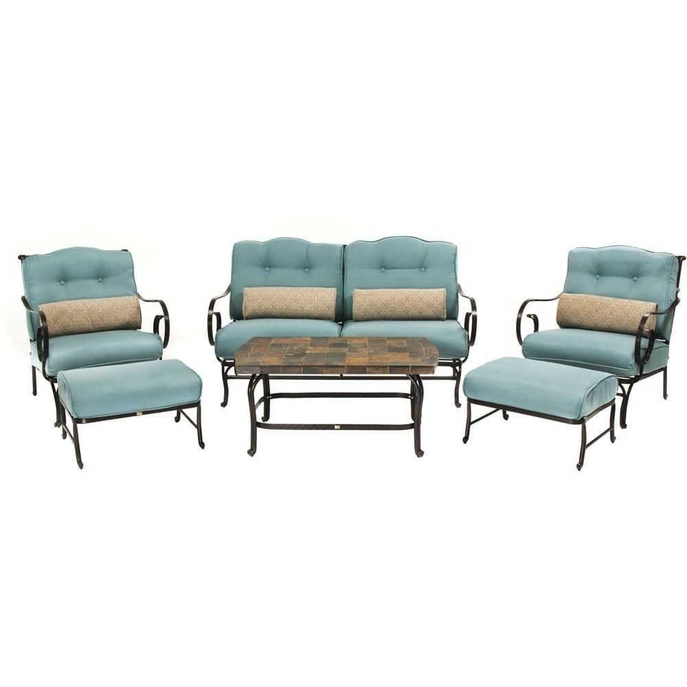 Preferred Hanover Oceana 6 Piece Patio Lounge Seating Set With Nepal Blue Pertaining To Patio Conversation Sets With Blue Cushions (View 3 of 20)