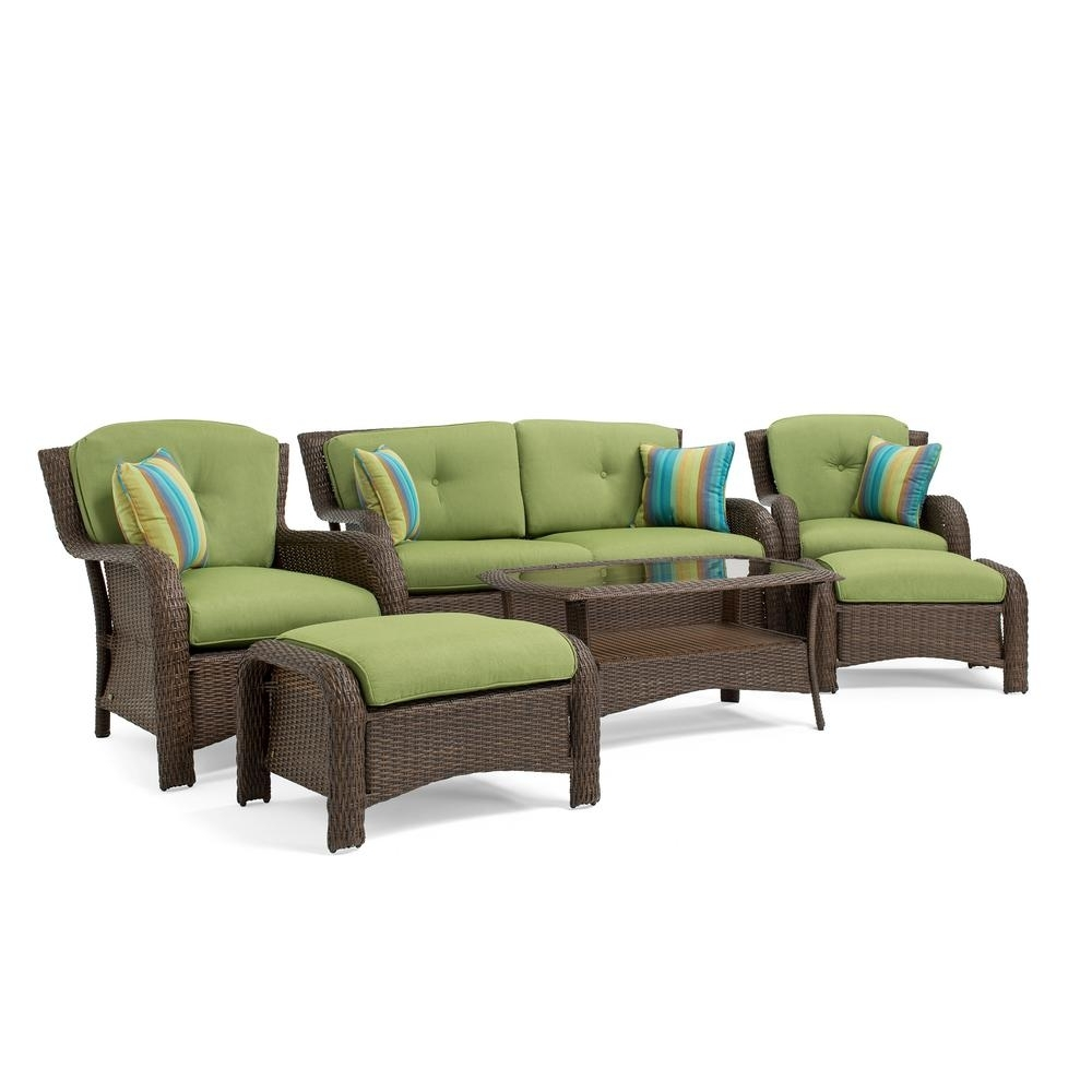 Preferred La Z Boy Sawyer 6 Piece Wicker Outdoor Seating Set With Sunbrella Inside Lazy Boy Patio Conversation Sets (View 9 of 20)