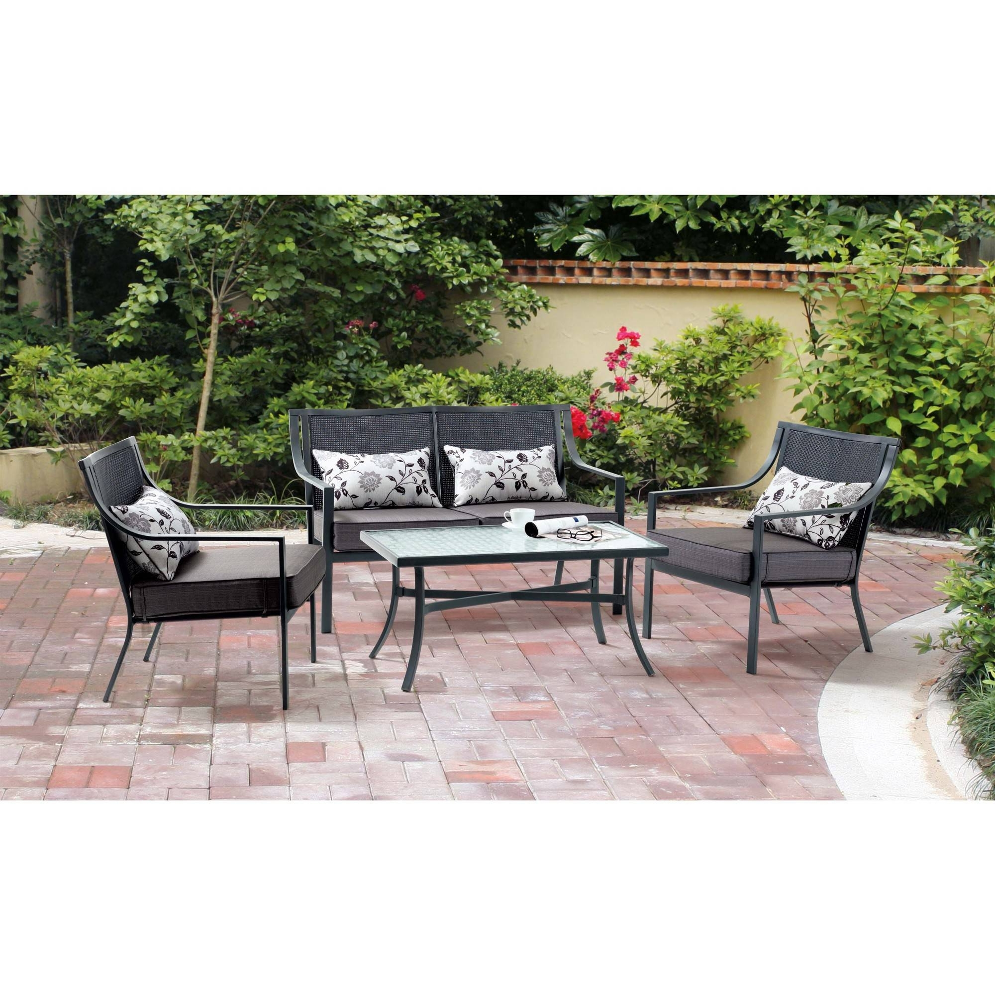 Preferred Mainstays Alexandra Square 4 Piece Patio Conversation Set, Grey With With Regard To Resin Conversation Patio Sets (View 11 of 20)