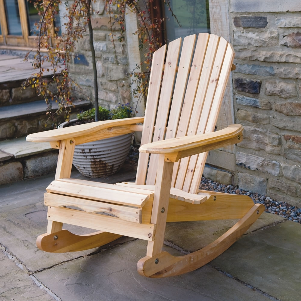 Preferred Outdoor Rocking Chairs With Regard To Garden Patio Wooden Adirondack Rocking Chair (View 6 of 20)