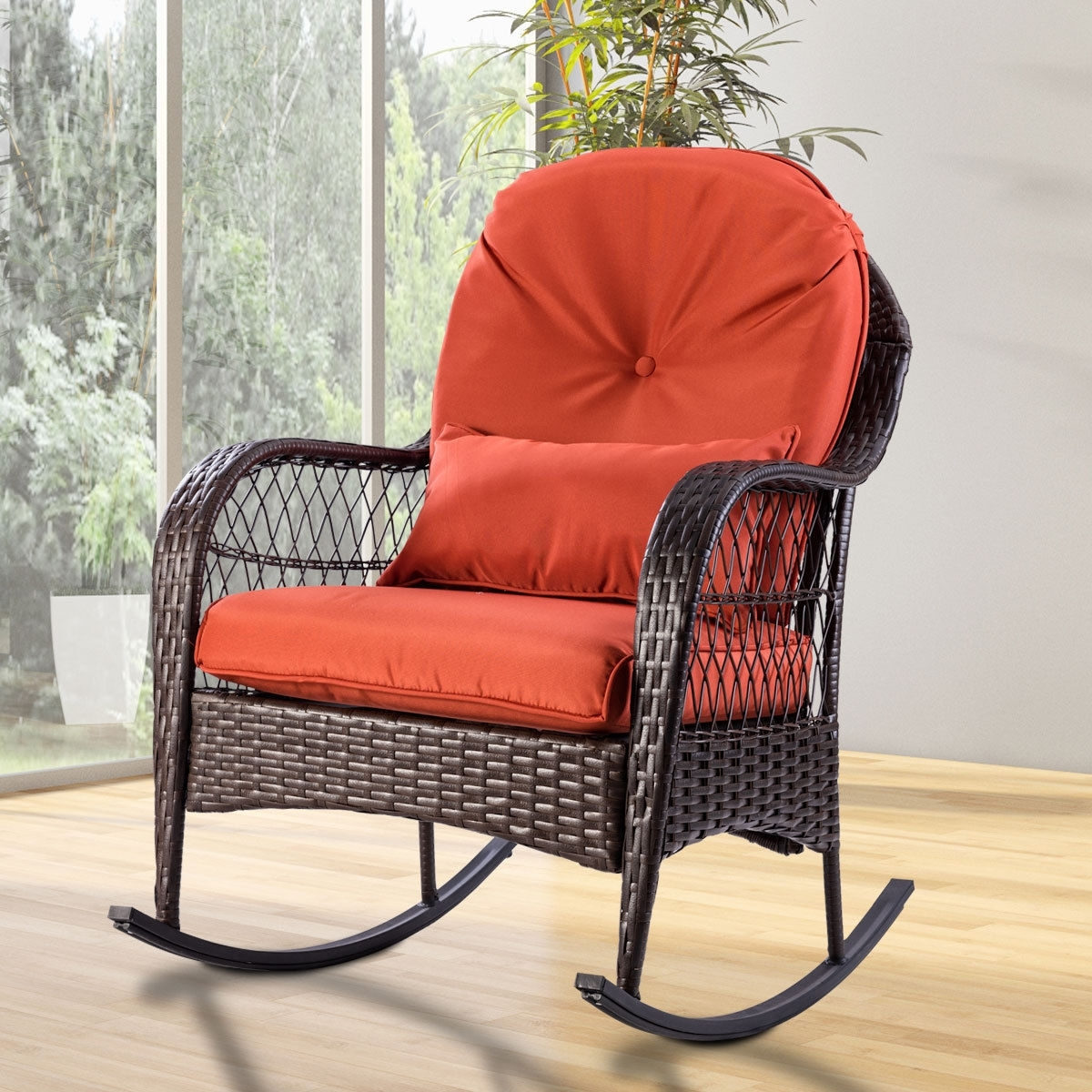 Preferred Padded Patio Rocking Chairs For Giantex Patio Rattan Wicker Rocking Chair Modern Porch Deck Rocker (View 9 of 20)