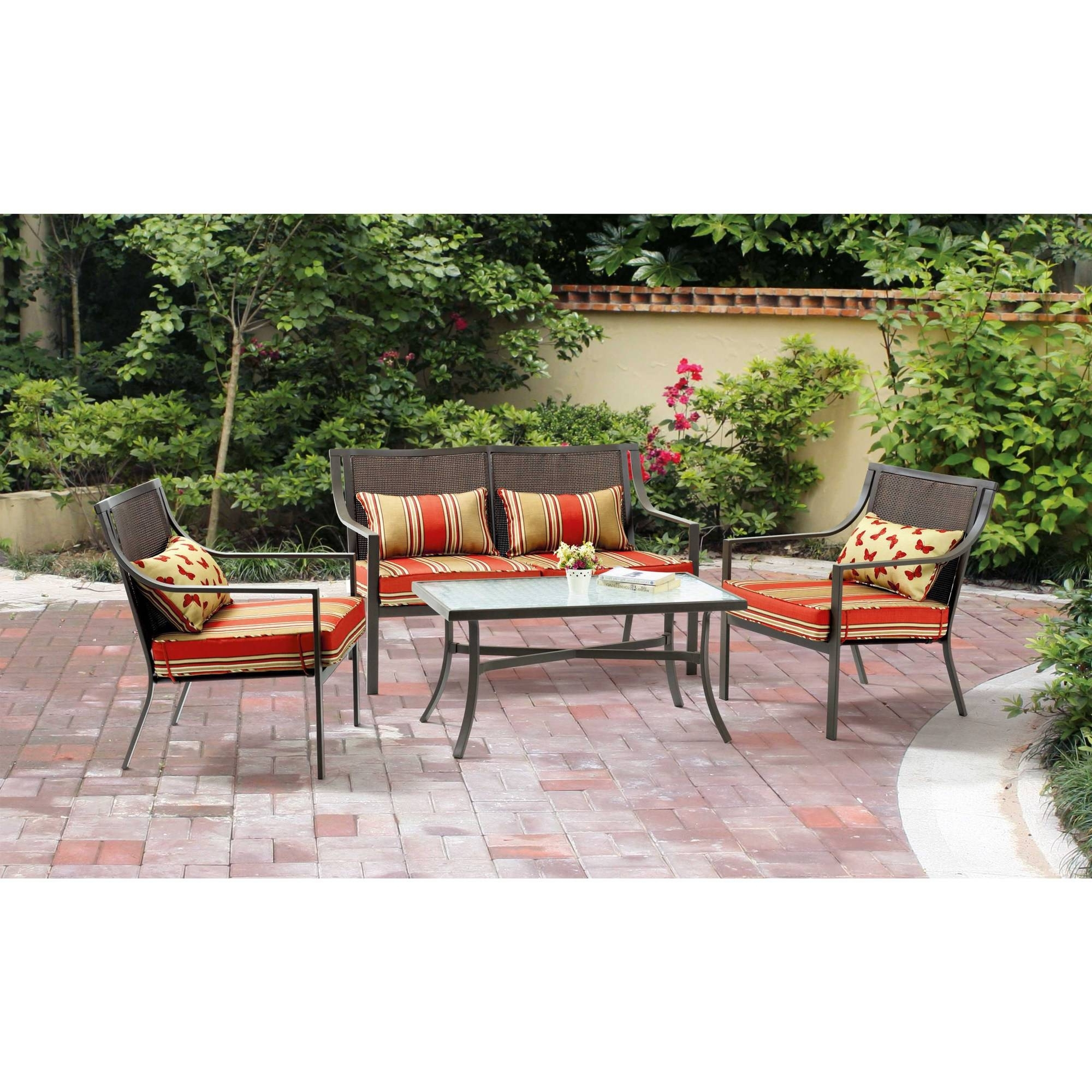 Preferred Patio Conversation Sets At Walmart Throughout Mainstays Alexandra Square 4 Piece Patio Conversation Set, Seats (View 9 of 20)