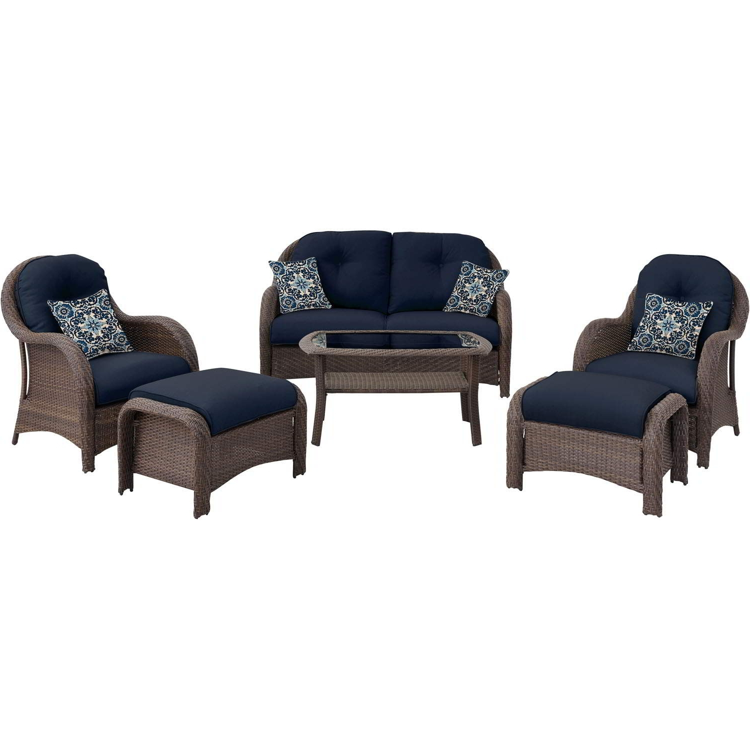 Preferred Patio Conversation Sets With Blue Cushions Throughout Newport 6 Piece Seating Set In Navy Blue – Newport6Pc Nvy (View 16 of 20)