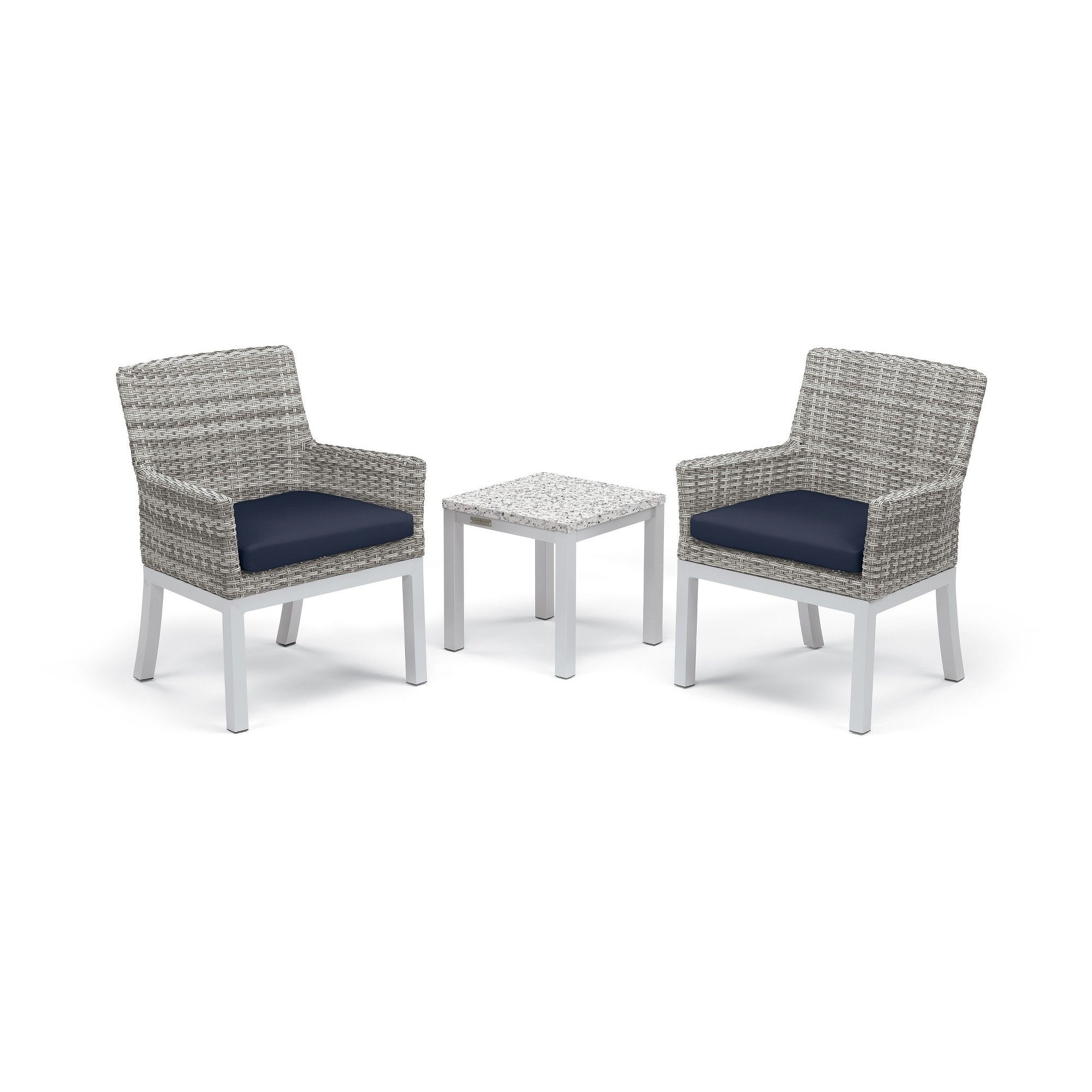 Preferred Patio Conversation Sets With Blue Cushions With Regard To Travira 3Pc Conversation Set With End Table Powder Coated Aluminum (View 17 of 20)