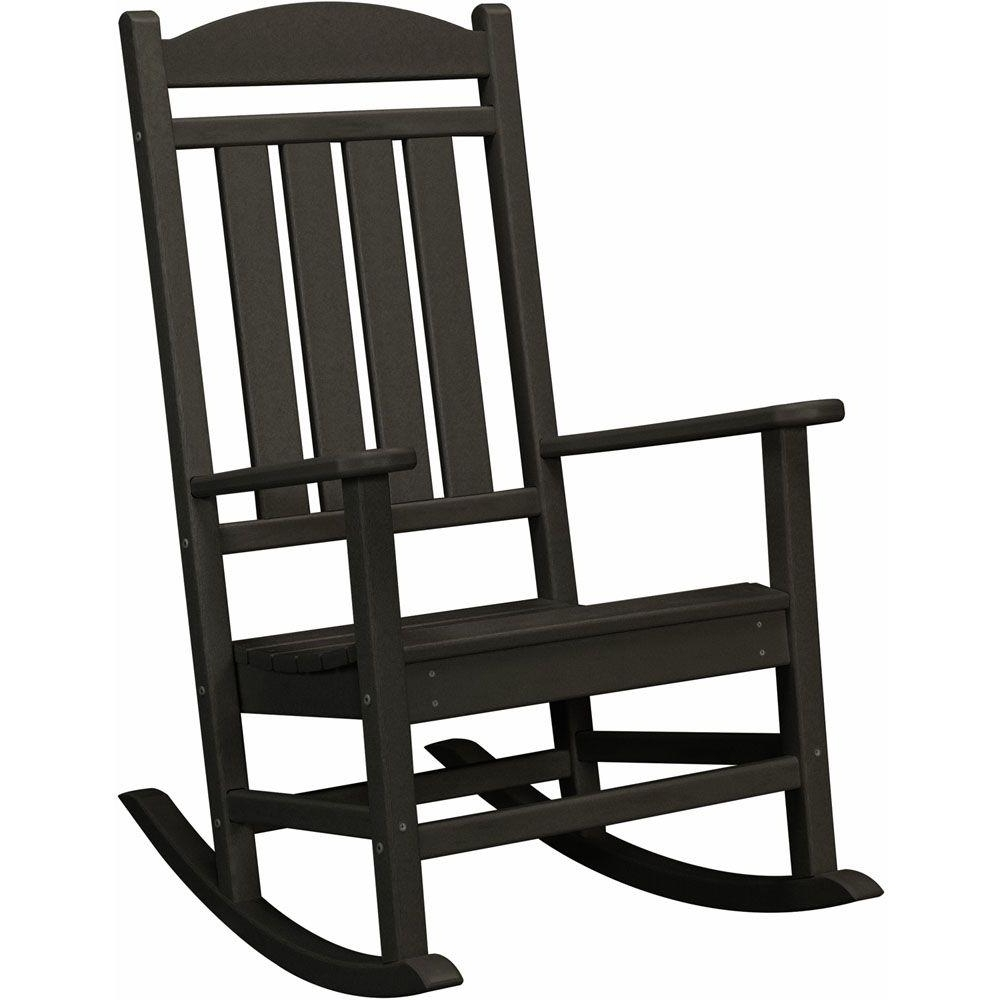 Preferred Patio Rocking Chairs Regarding Hanover Black All Weather Pineapple Cay Patio Porch Rocker Hvr100Bl (View 14 of 20)