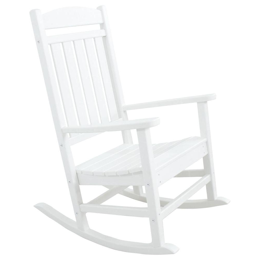 Preferred Rocking Chairs At Home Depot Inside Ivy Terrace Classics White Patio Rocker Ivr100wh – The Home Depot (View 18 of 20)