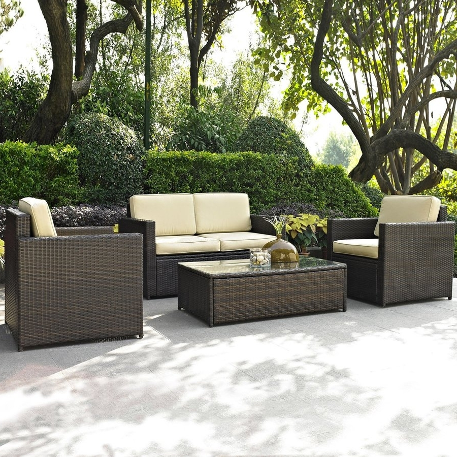 Preferred Shop Crosley Furniture Palm Harbor 4 Piece Wicker Patio Conversation Throughout 4 Piece Patio Conversation Sets (View 13 of 20)