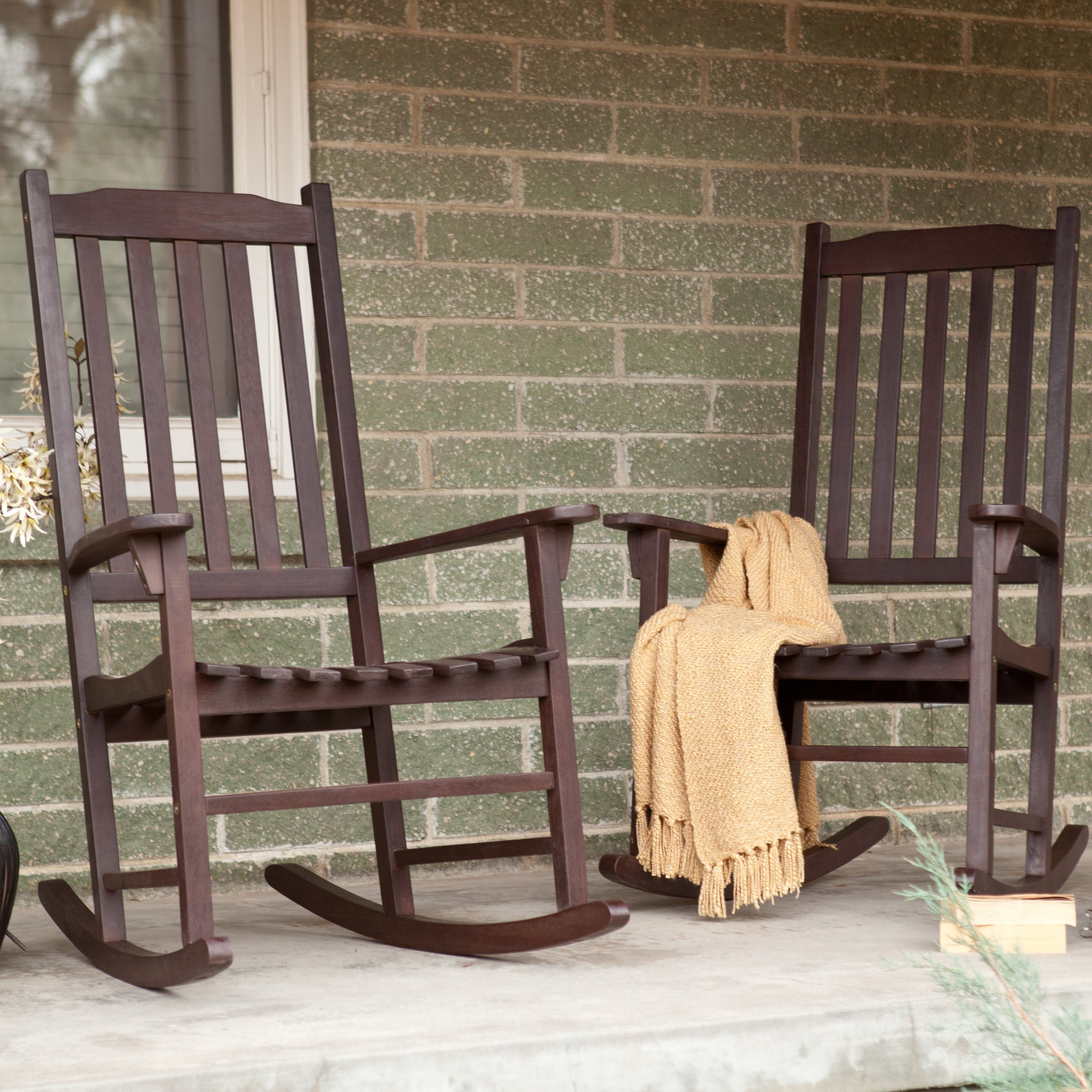Preferred Unique Outdoor Rocking Chairs Inside Coral Coast Indoor/outdoor Mission Slat Rocking Chairs – Dark Brown (View 9 of 20)