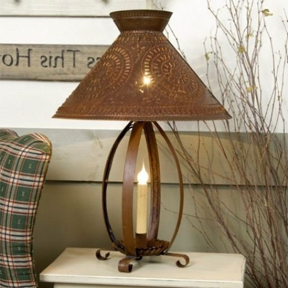 Primitive Living Room Table Lamps Throughout Current Betsy Ross Colonial Table Lamp With Pierced Chisel Pattern Shade In (View 5 of 20)